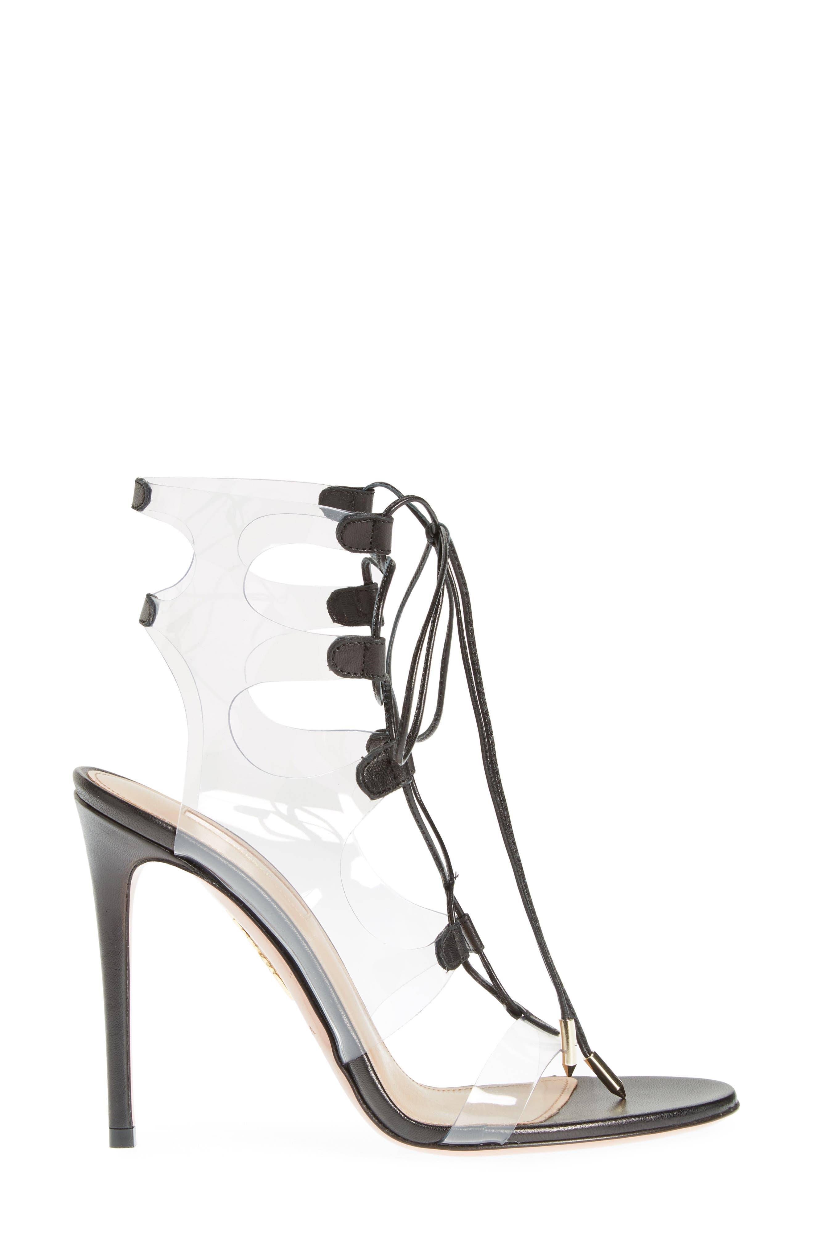 AQUAZZURA, Milos PVC Lace-Up Sandal, Alternate thumbnail 3, color, BLACK