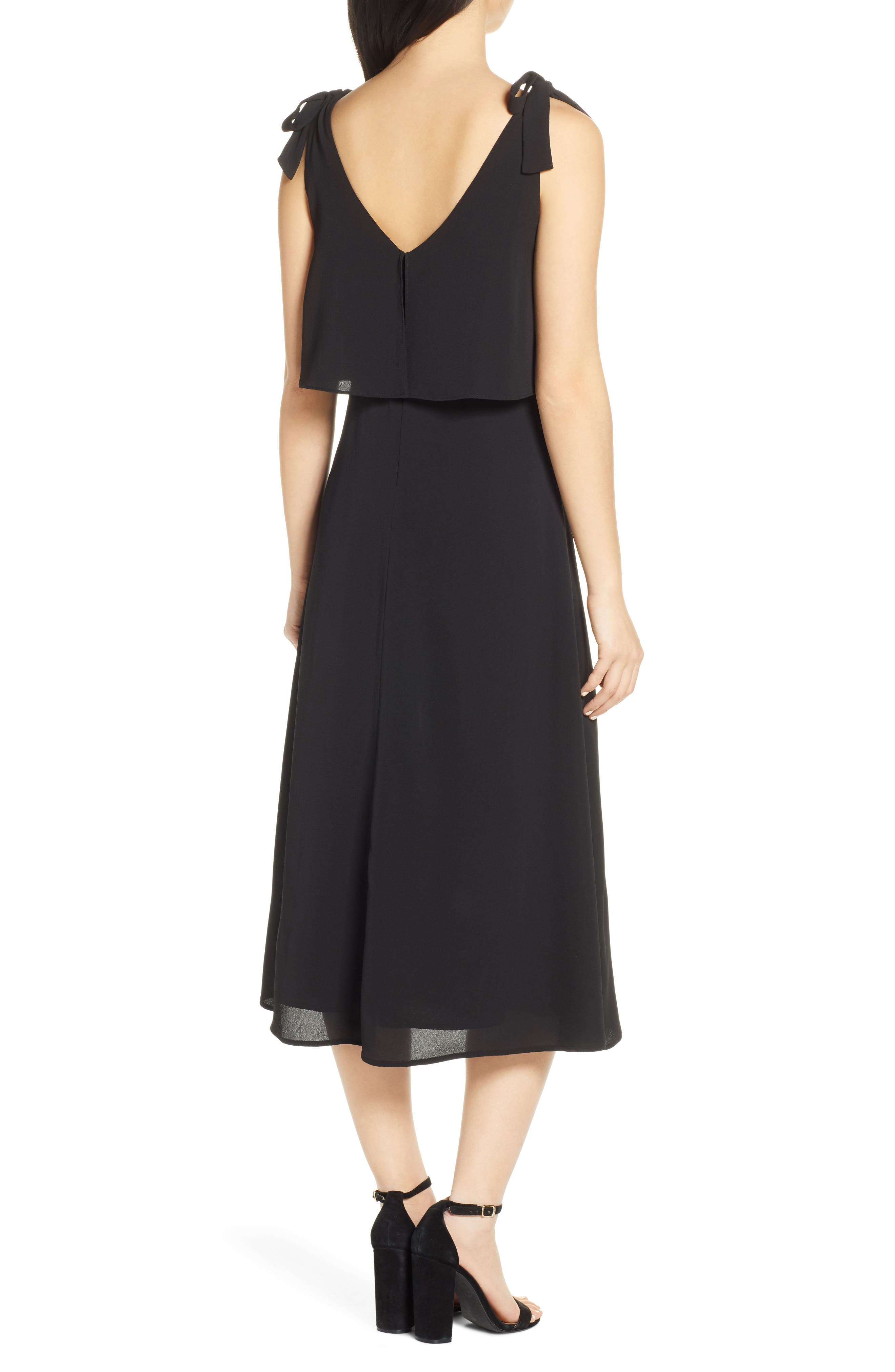 CHARLES HENRY, Tie Shoulder Popover Midi Dress, Alternate thumbnail 2, color, BLACK