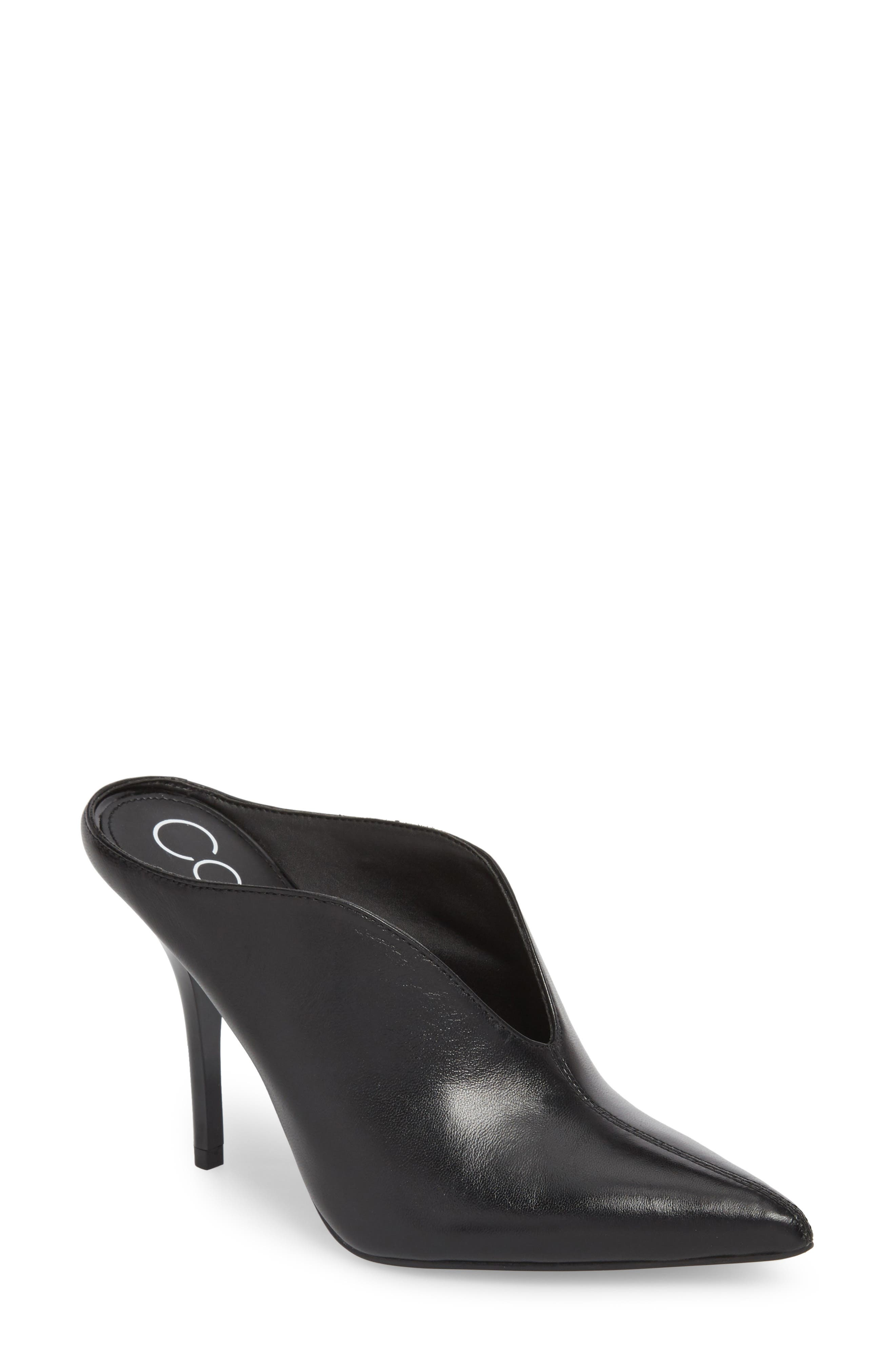 CALVIN KLEIN, Mallie Pointy Toe Mule, Main thumbnail 1, color, BLACK LEATHER