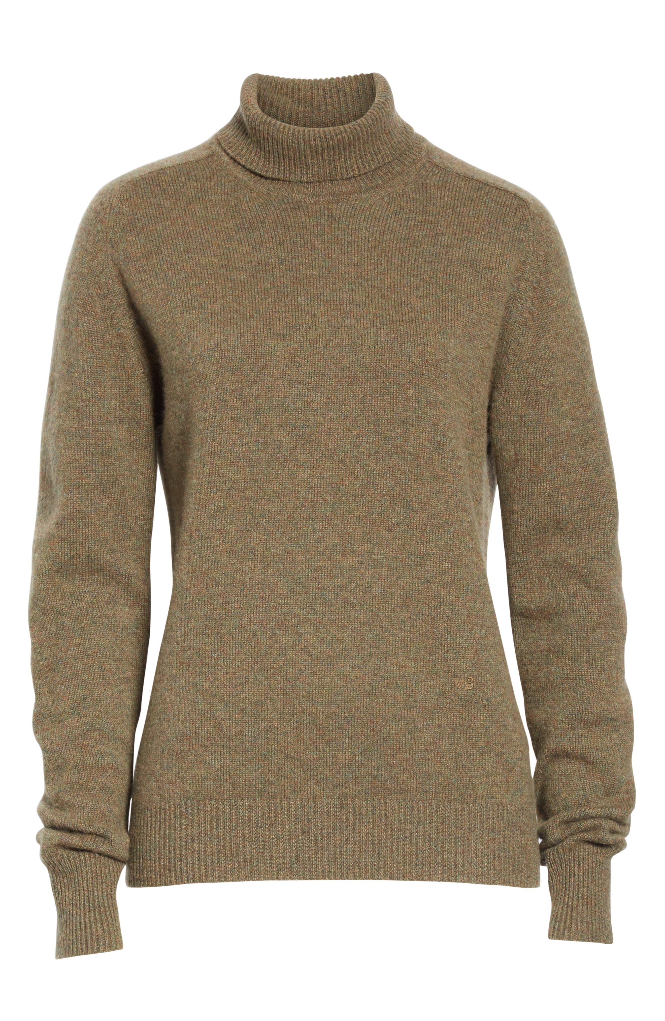 VICTORIA BECKHAM, Stretch Cashmere Turtleneck Sweater, Alternate thumbnail 7, color, OLIVE