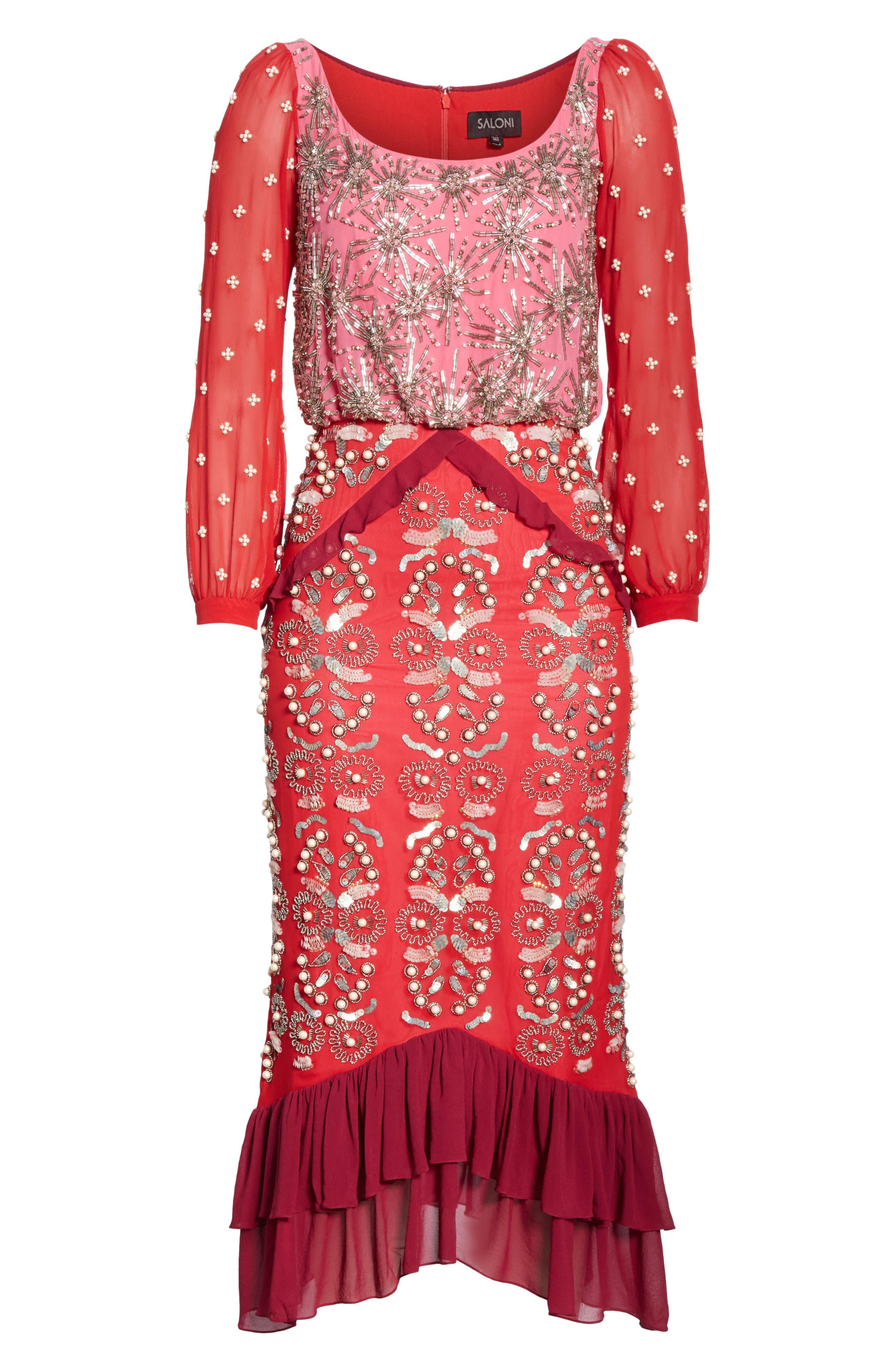 SALONI, Isa Beaded Colorblock Silk Midi Dress, Alternate thumbnail 6, color, PINK/ CHERRY