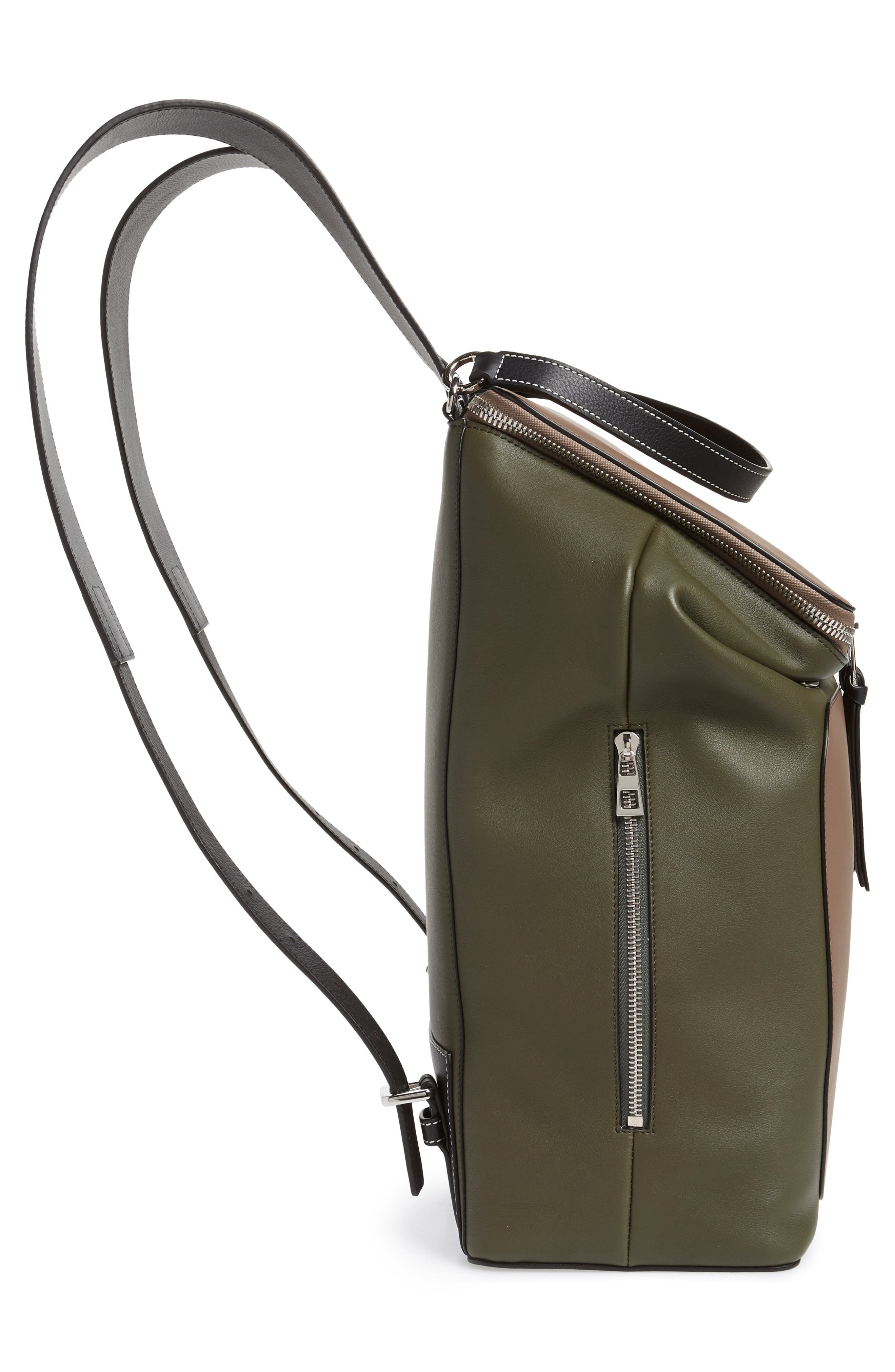 LOEWE, Goya Backpack, Alternate thumbnail 5, color, DARK TAUPE/ GREEN MILITARY