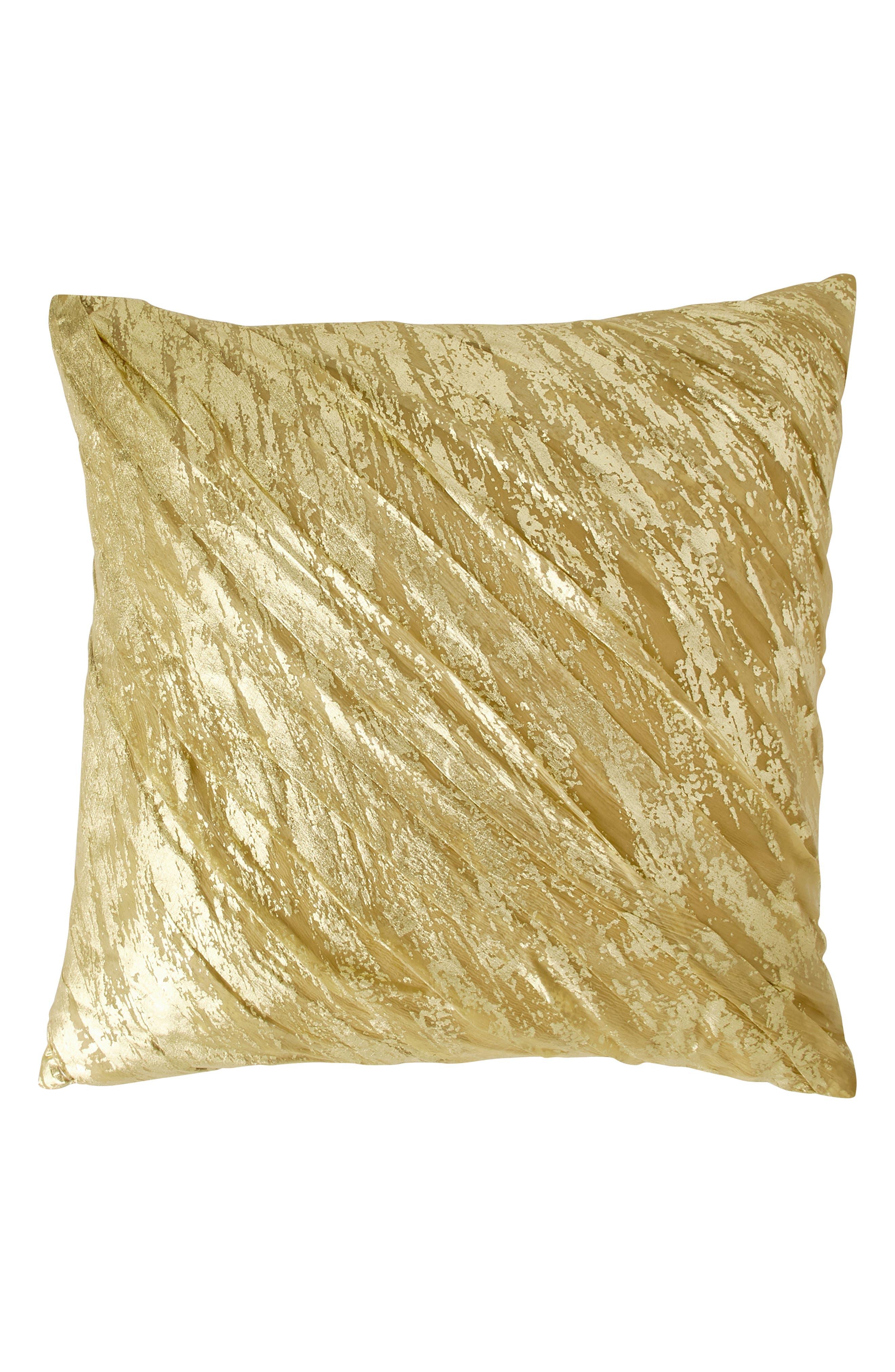 DONNA KARAN NEW YORK, Gilded Drape Accent Pillow, Main thumbnail 1, color, GOLD