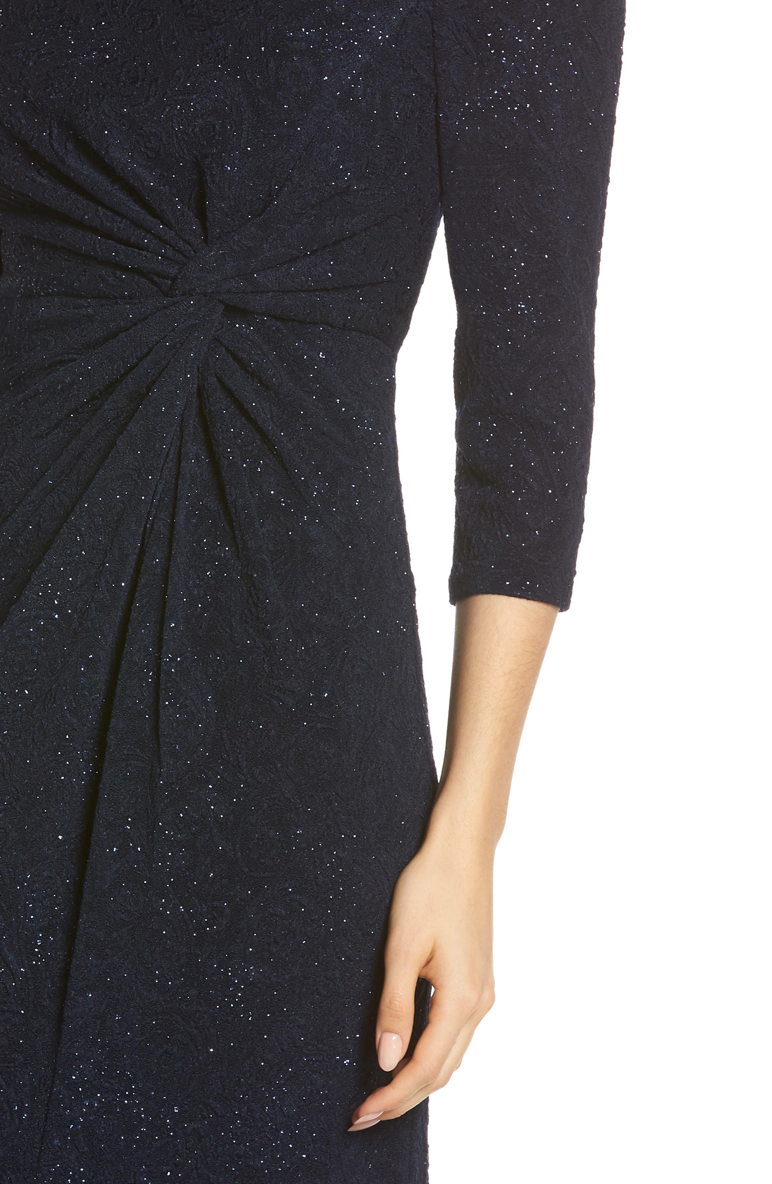 ALEX EVENINGS, Knot Front Sequin Jacquard Evening Dress, Alternate thumbnail 5, color, NAVY