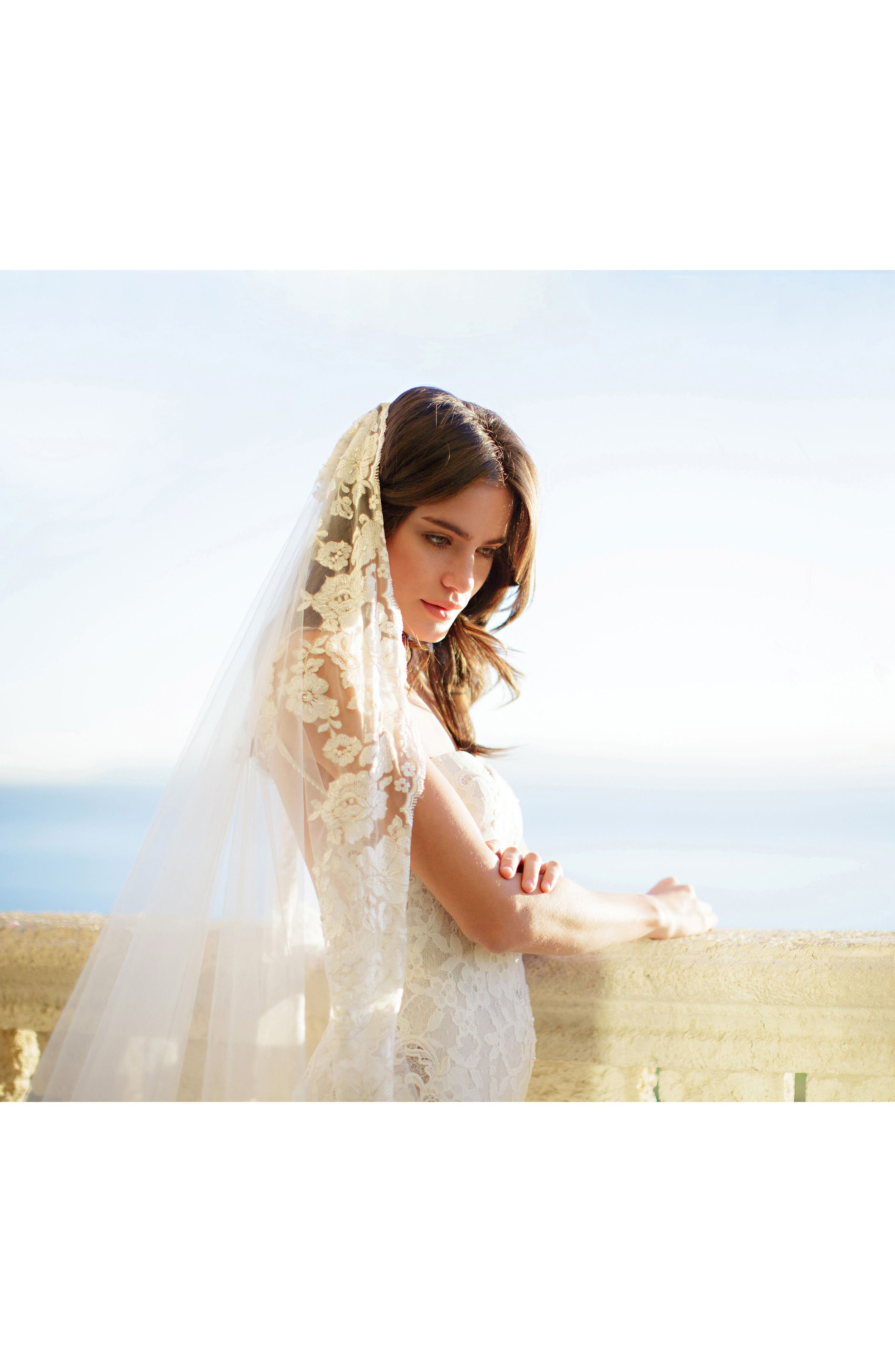 BRIDES & HAIRPINS, Florentina Embroidered Cathedral Veil, Alternate thumbnail 4, color, IVORY