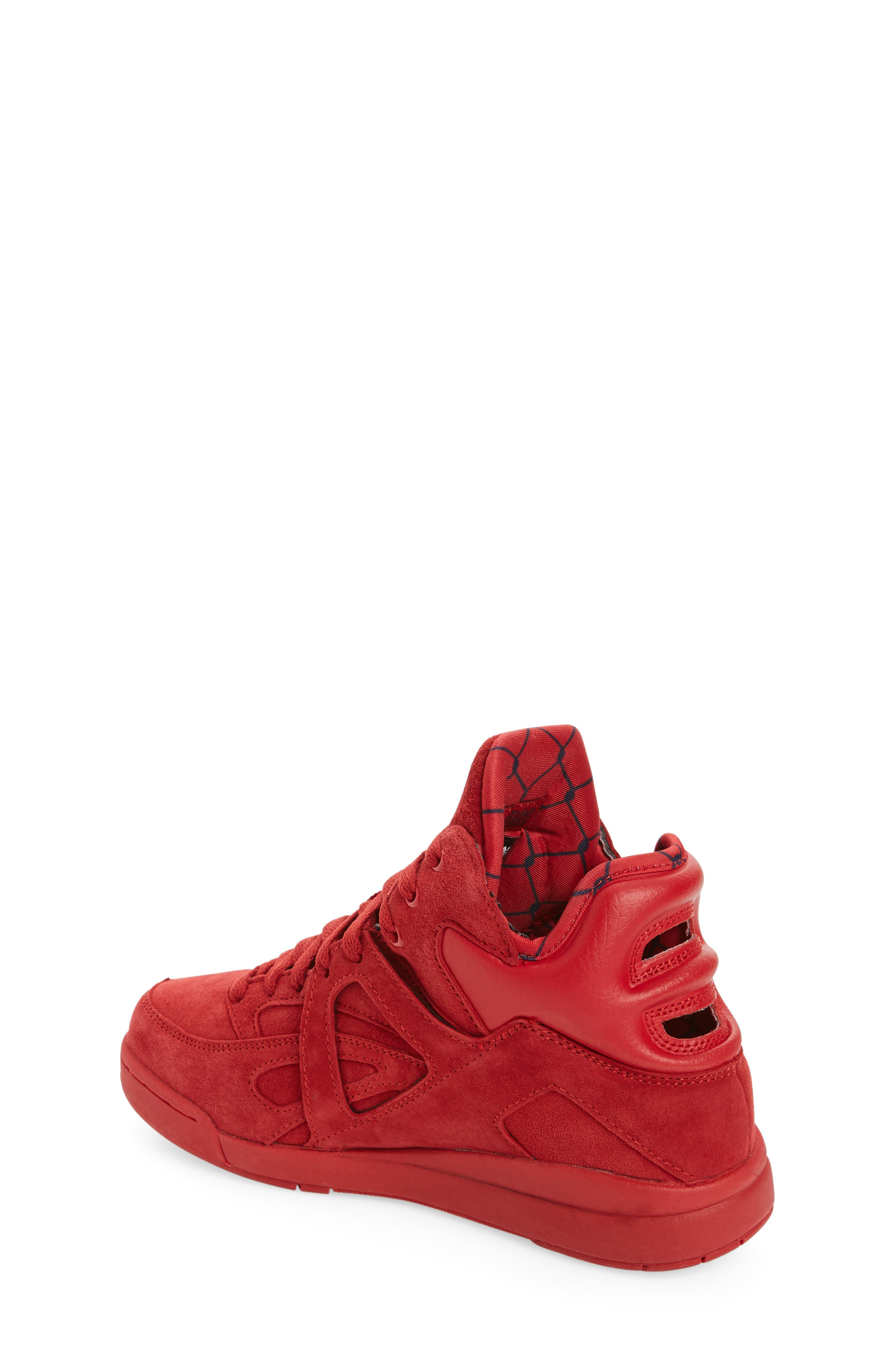 FILA, The Cage High Top Sneaker, Alternate thumbnail 2, color, RED SUEDE