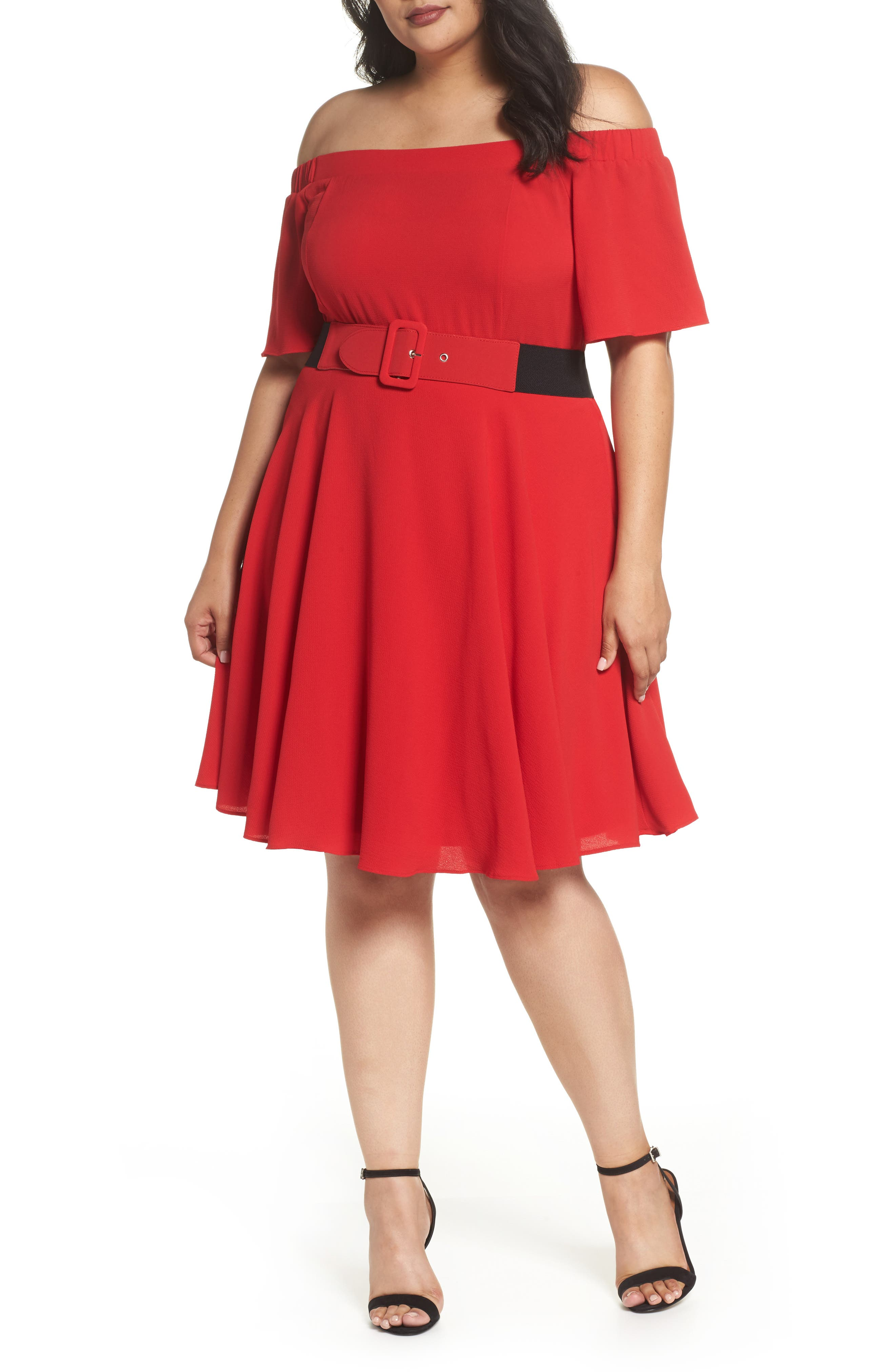 Plus Size City Chic Lady Valerie Fit & Flare Dress, Red