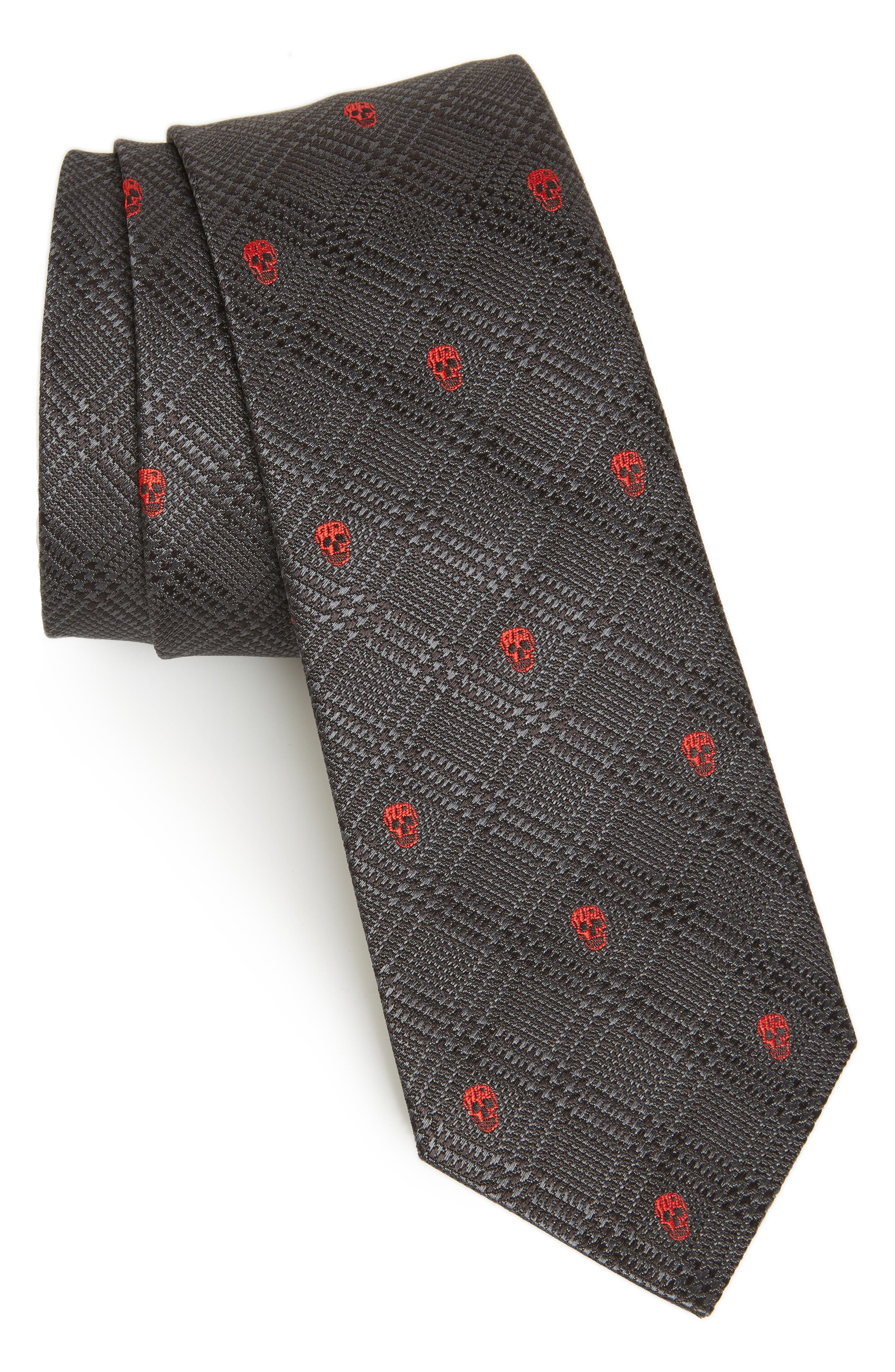 ALEXANDER MCQUEEN, Woven Silk Tie, Main thumbnail 1, color, BLACK AND RED