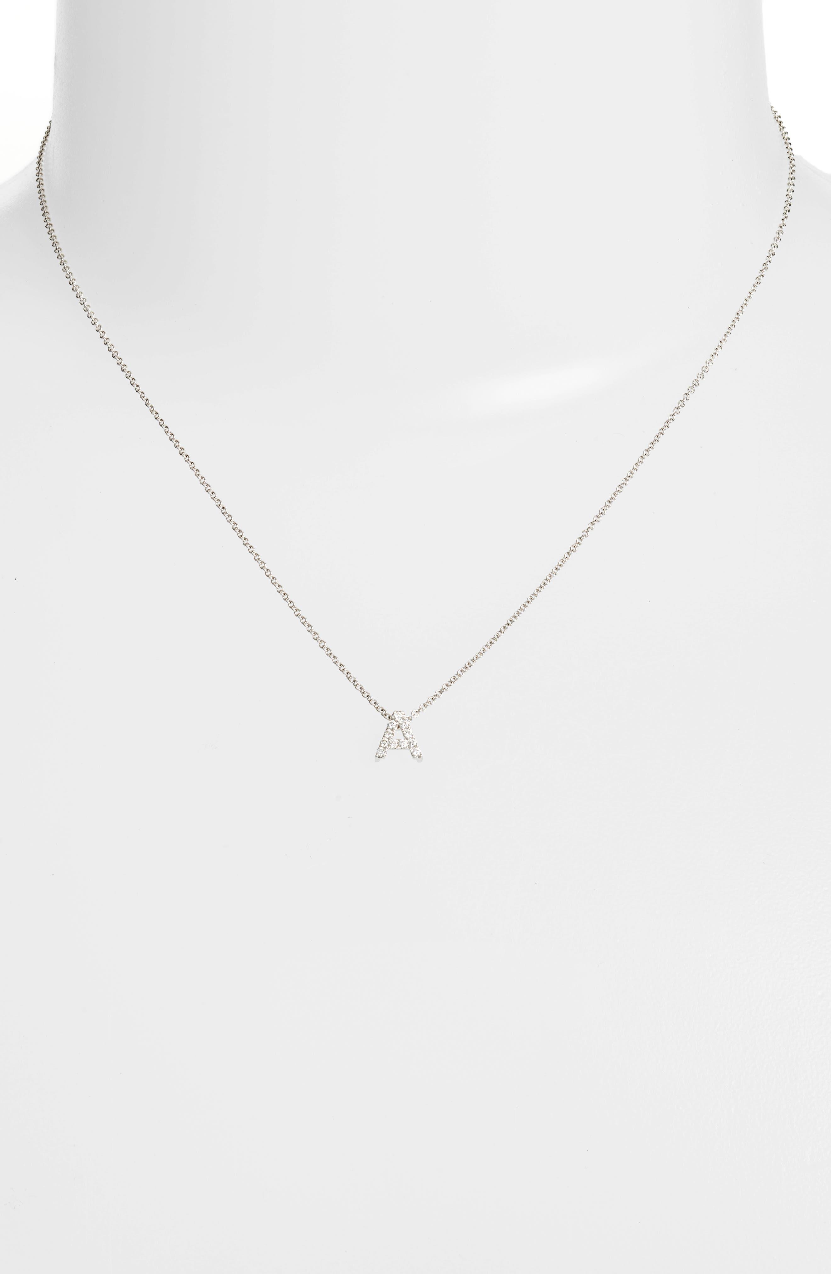 BONY LEVY, 18k Gold Pavé Diamond Initial Pendant Necklace, Alternate thumbnail 3, color, WHITE GOLD - A