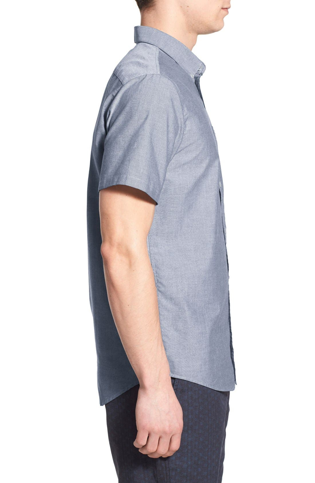 RVCA, 'That'll Do' Slim Fit Short Sleeve Oxford Shirt, Alternate thumbnail 4, color, DISTANT BLUE