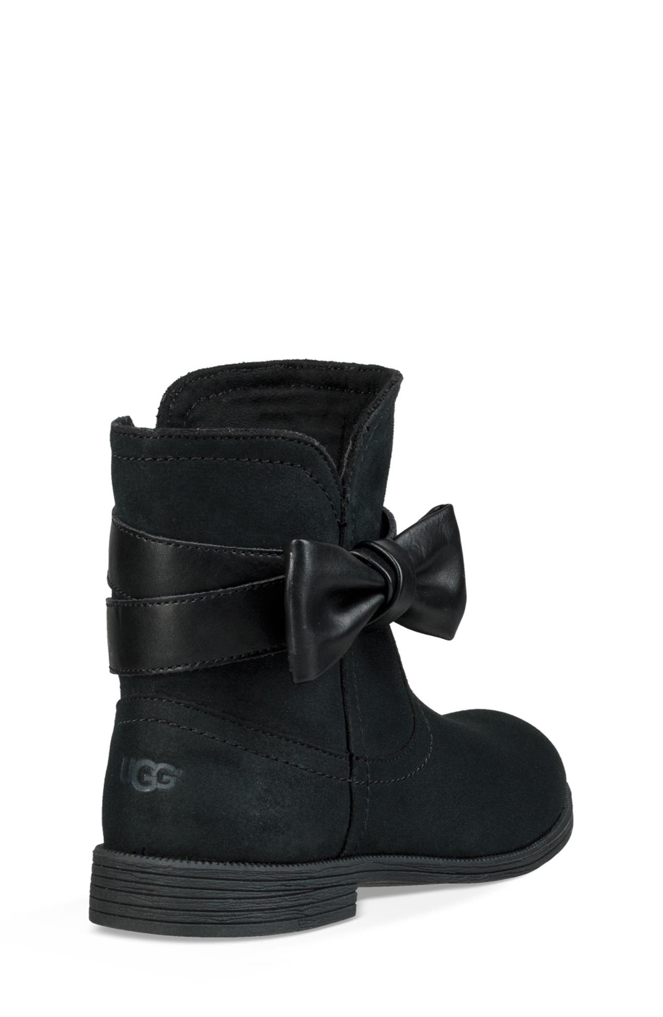 UGG<SUP>®</SUP>, UGG Joanie Bow Boot, Alternate thumbnail 2, color, BLACK