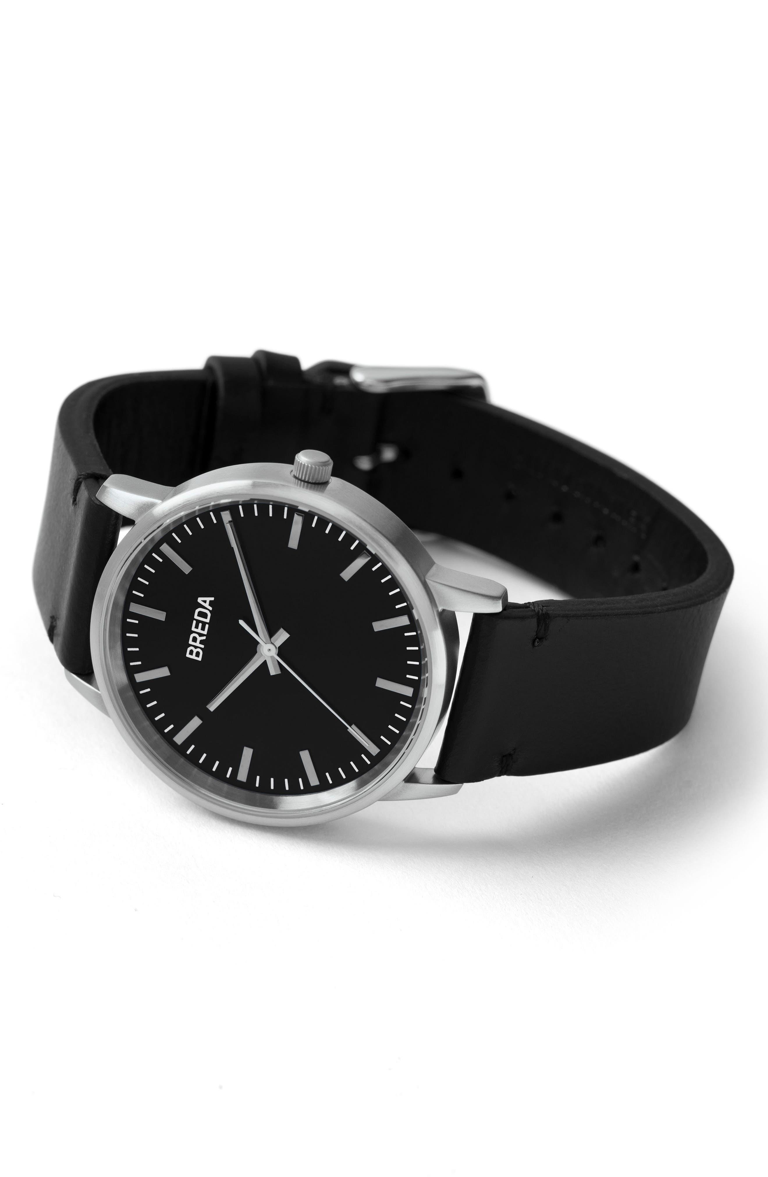 BREDA, Zapf Leather Strap Watch, 39mm, Alternate thumbnail 2, color, 001