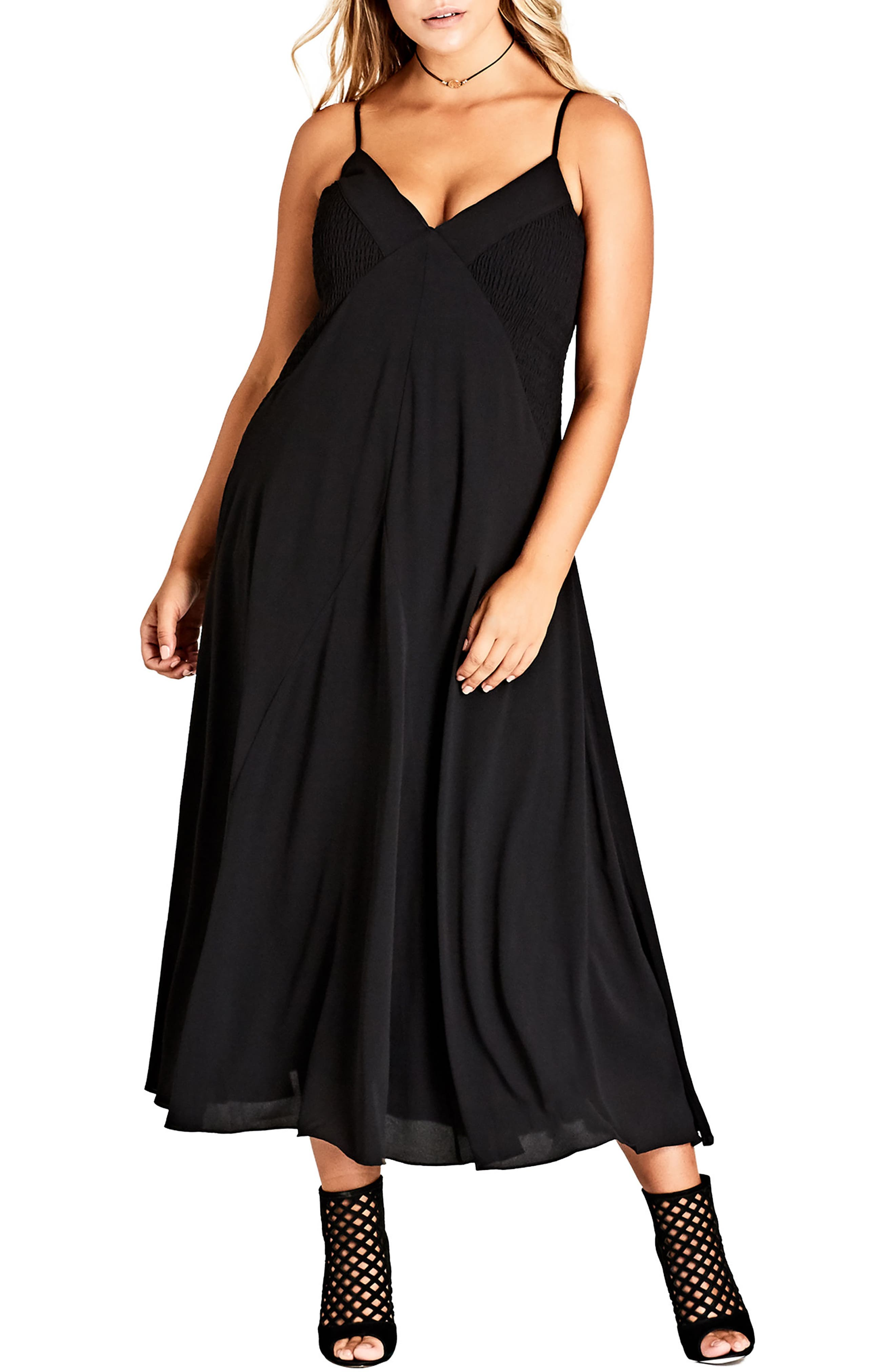 CITY CHIC, Boho Chic Maxi Dress, Main thumbnail 1, color, BLACK