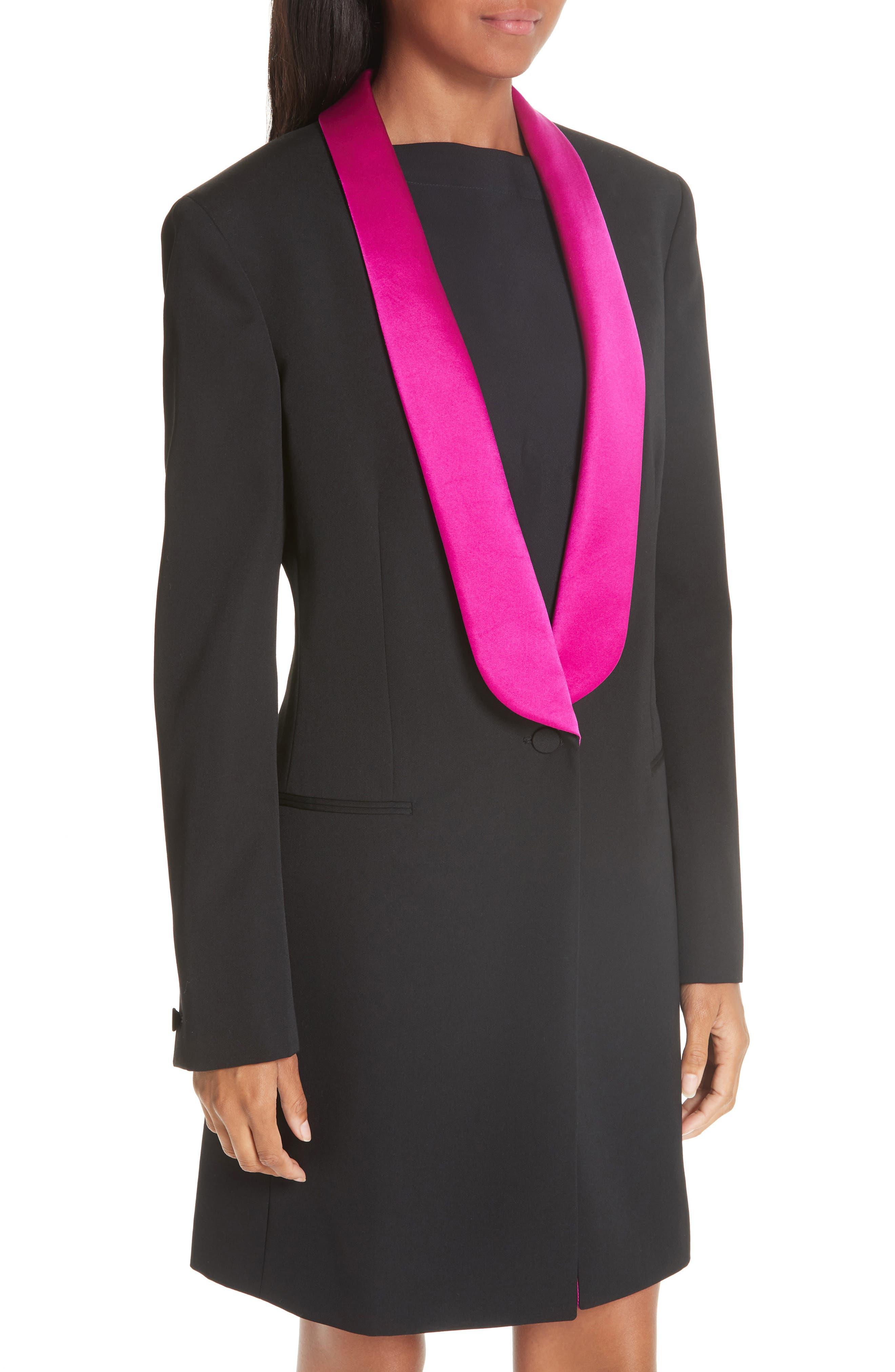 CALVIN KLEIN 205W39NYC, Contrast Lapel Wool Gabardine Jacket, Alternate thumbnail 5, color, BLACK DARK ORCHID