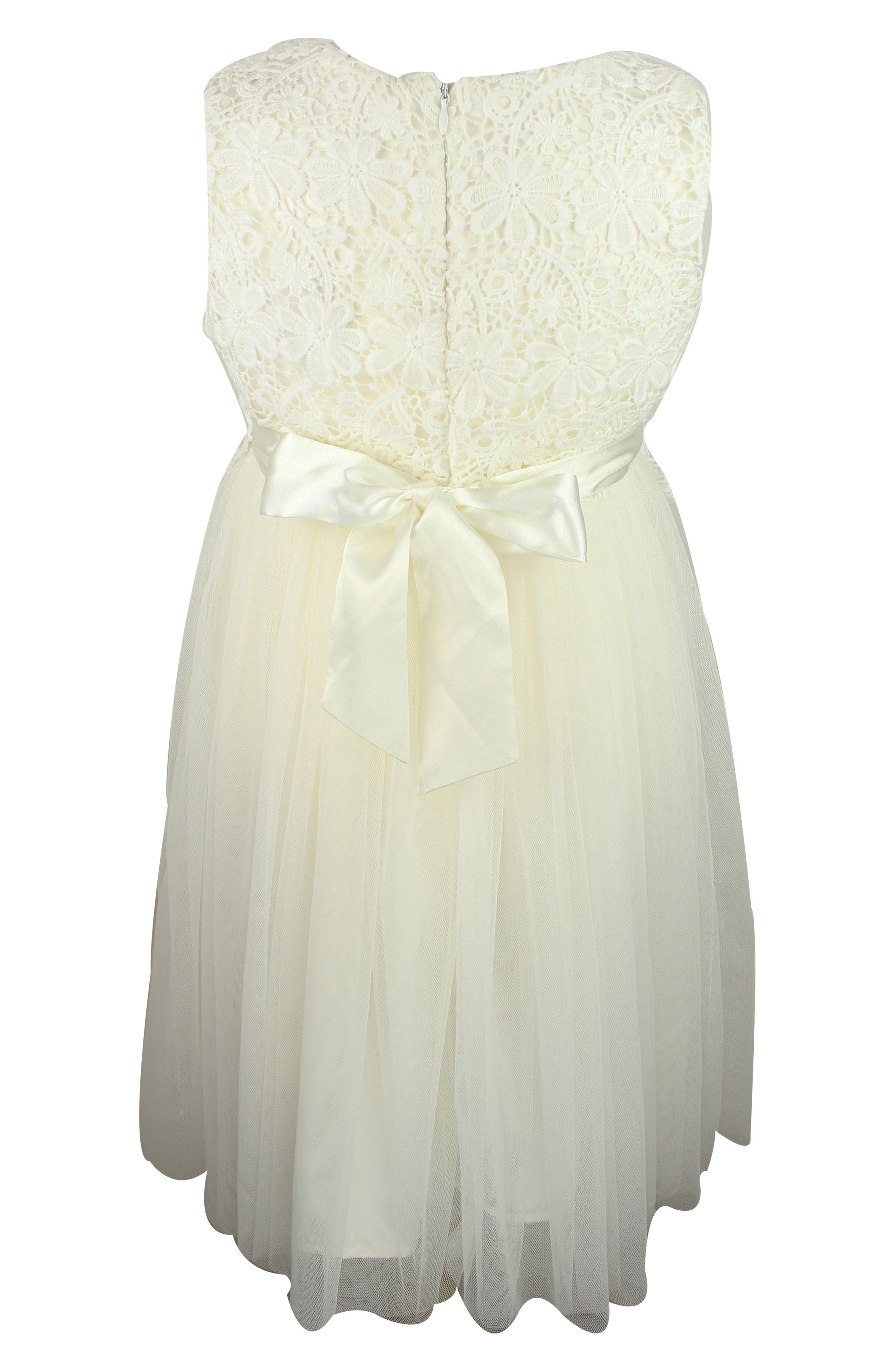 POPATU, Lace Tulle Dress, Alternate thumbnail 2, color, WHITE