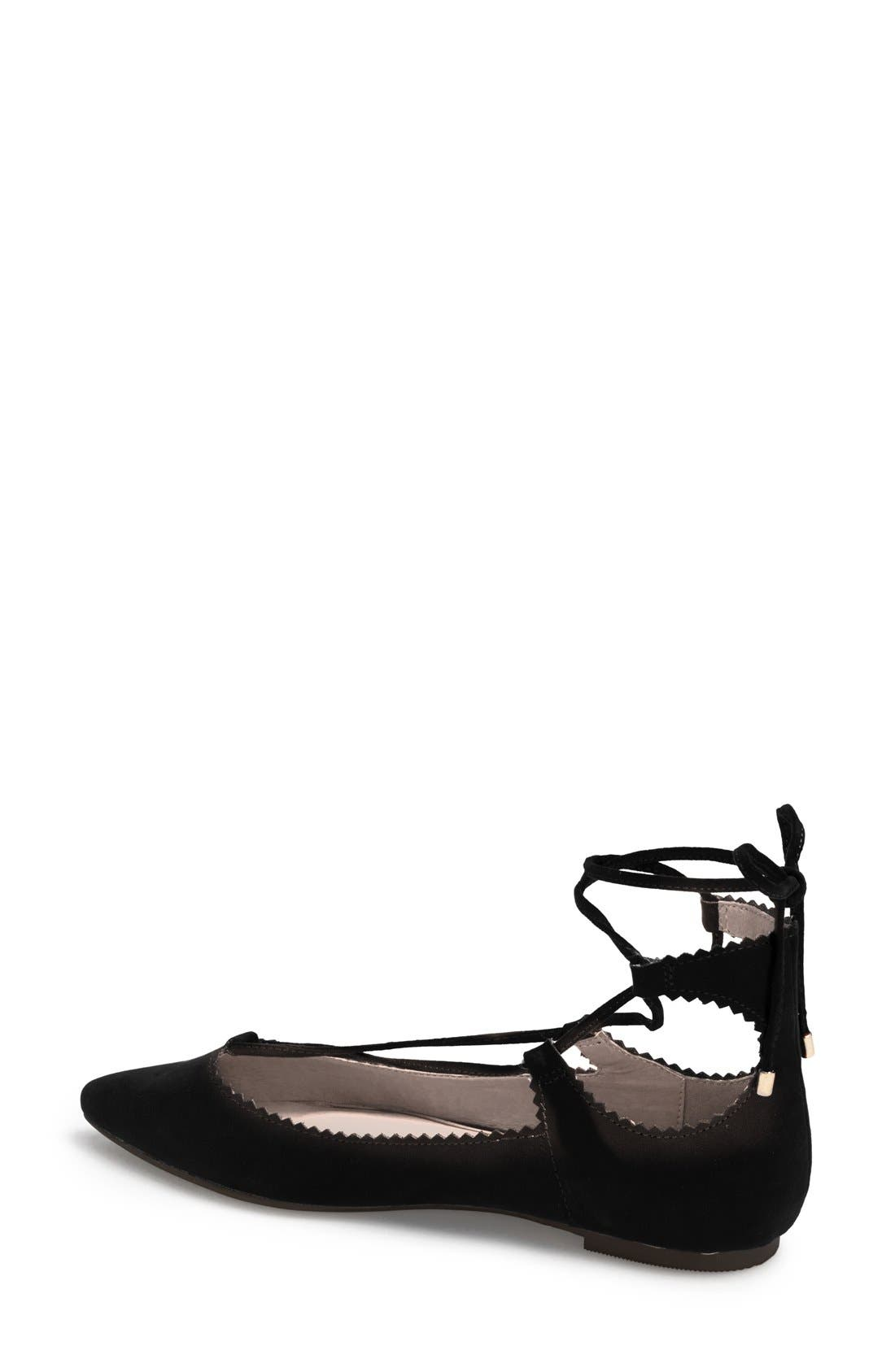 TOPSHOP, 'Finest Shillie' Lace-Up Pointy Toe Flat, Alternate thumbnail 4, color, 001