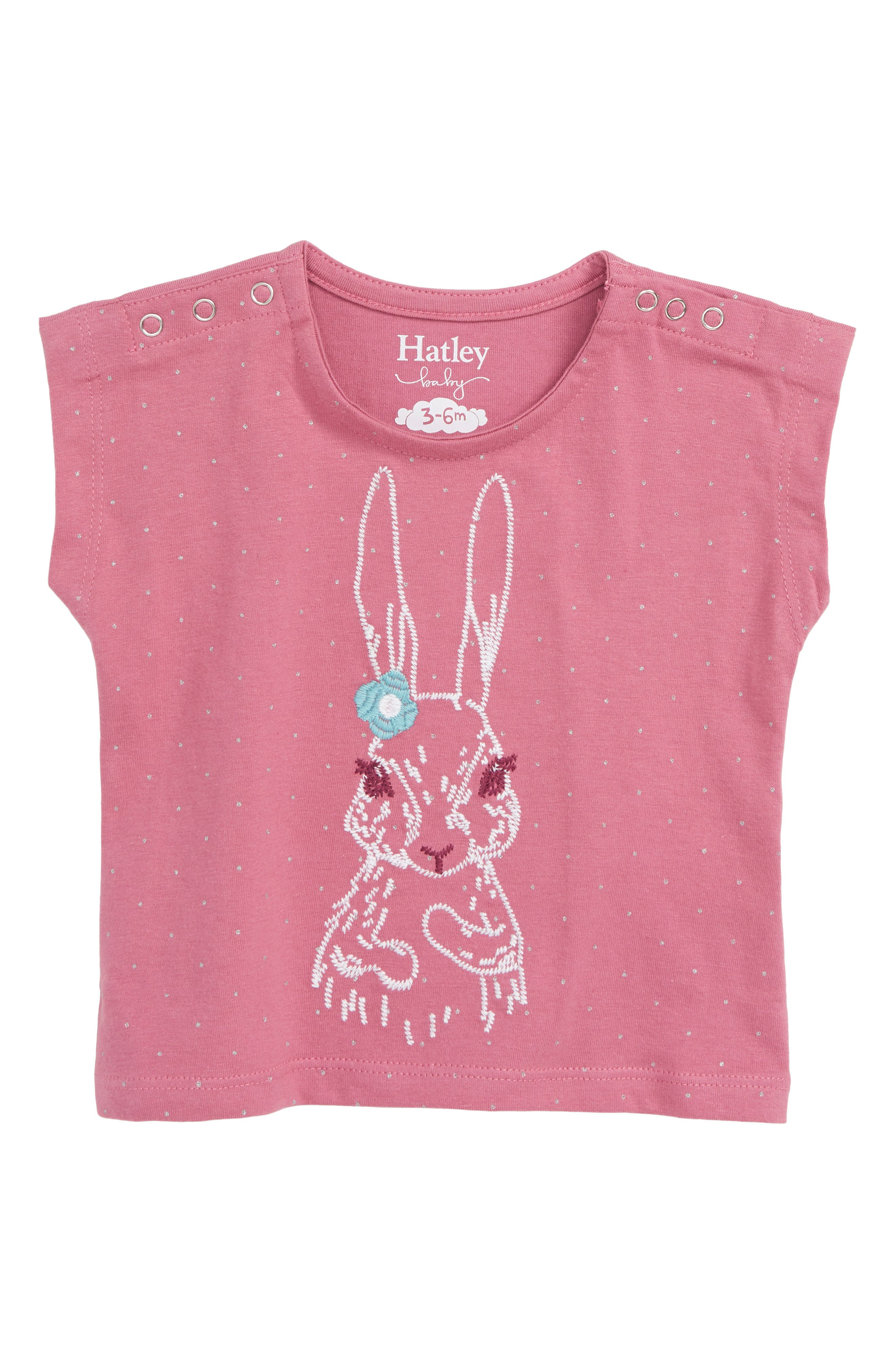HATLEY, Pretty Bunny Organic Cotton T-Shirt, Main thumbnail 1, color, 650