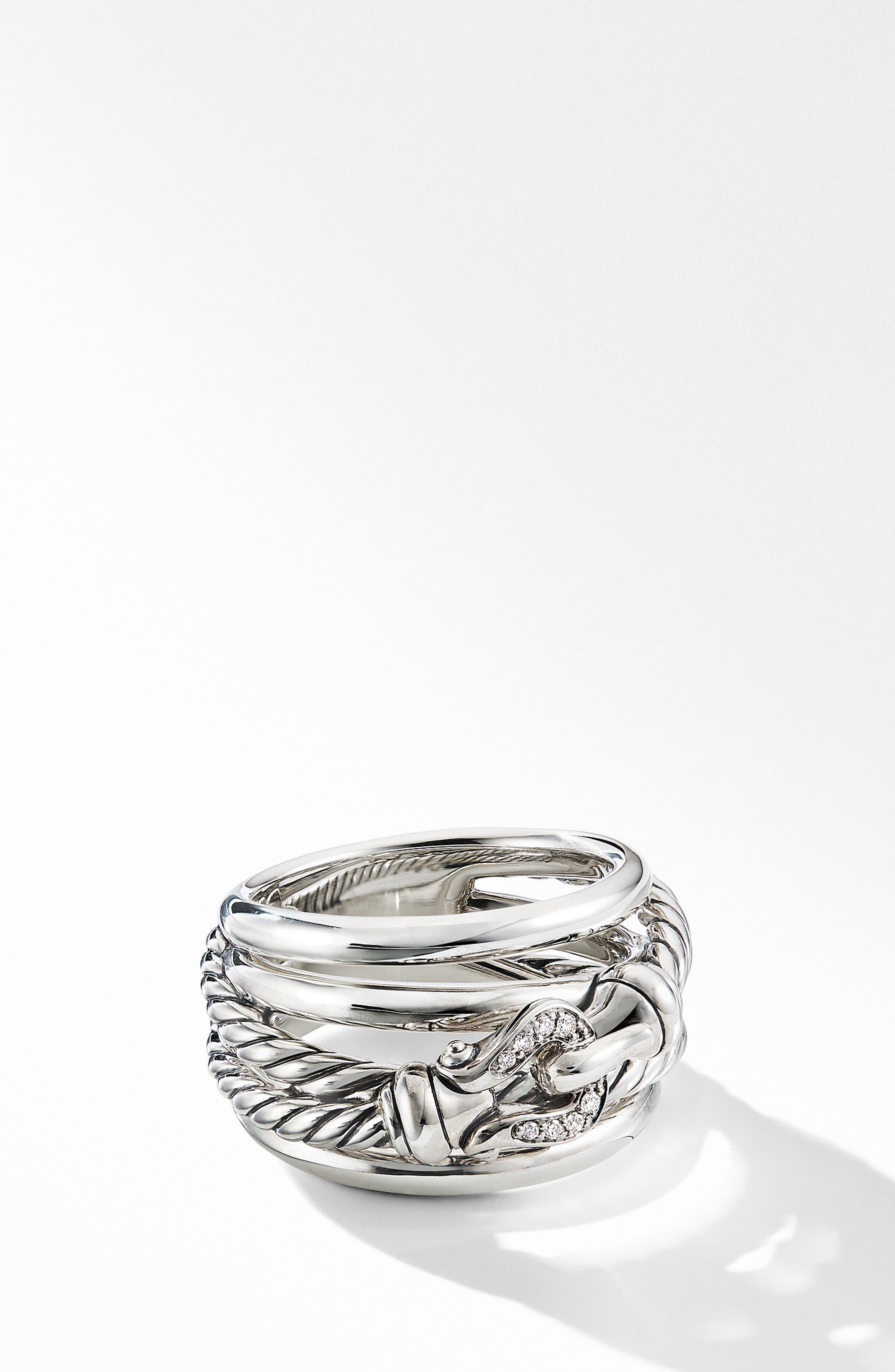 DAVID YURMAN, Buckle Ring with Diamonds, Main thumbnail 1, color, SILVER/ DIAMOND