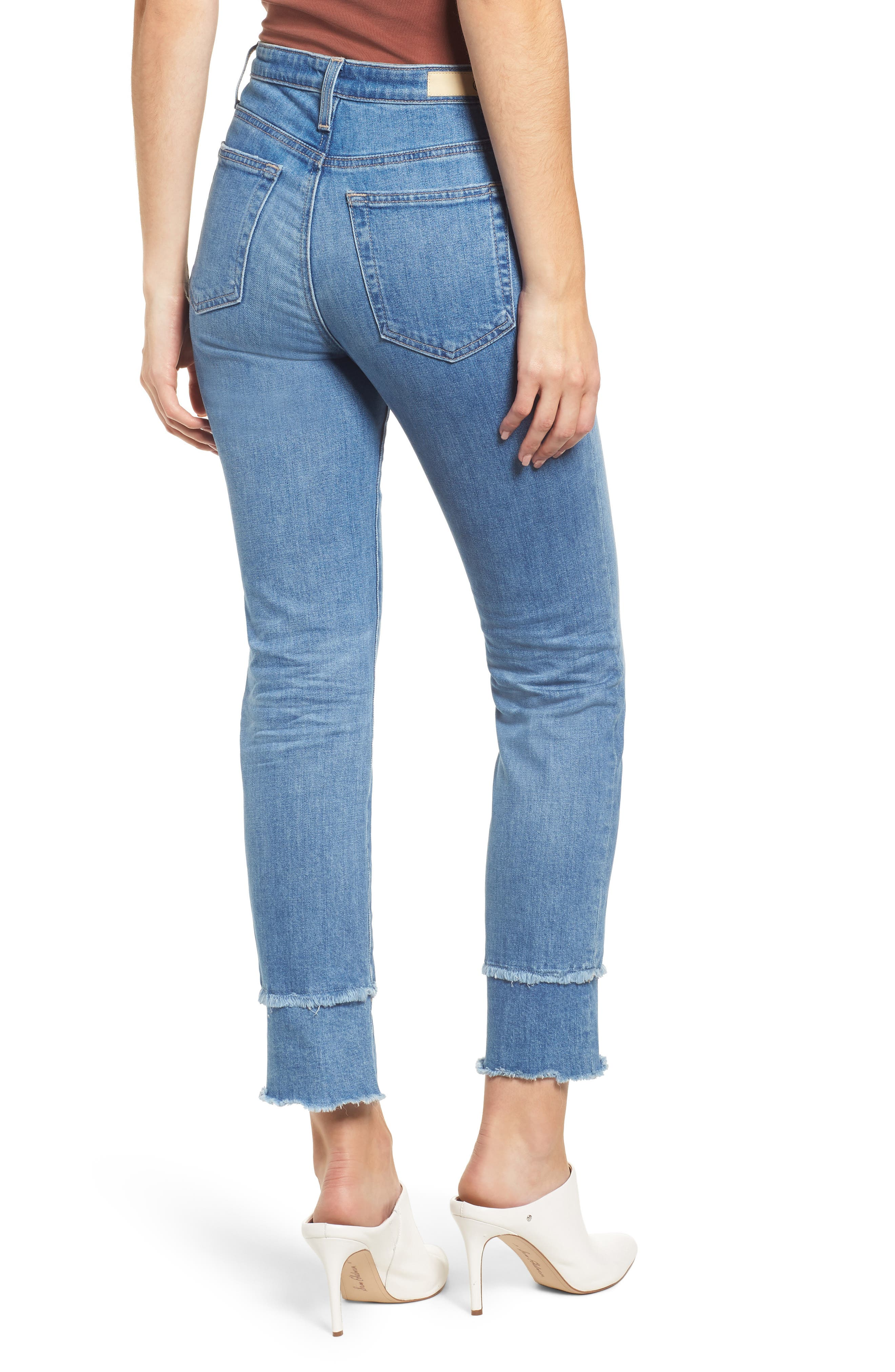 AG, The Isabelle High Waist Straight Leg Jeans, Alternate thumbnail 2, color, 13Y AWESTRUCK