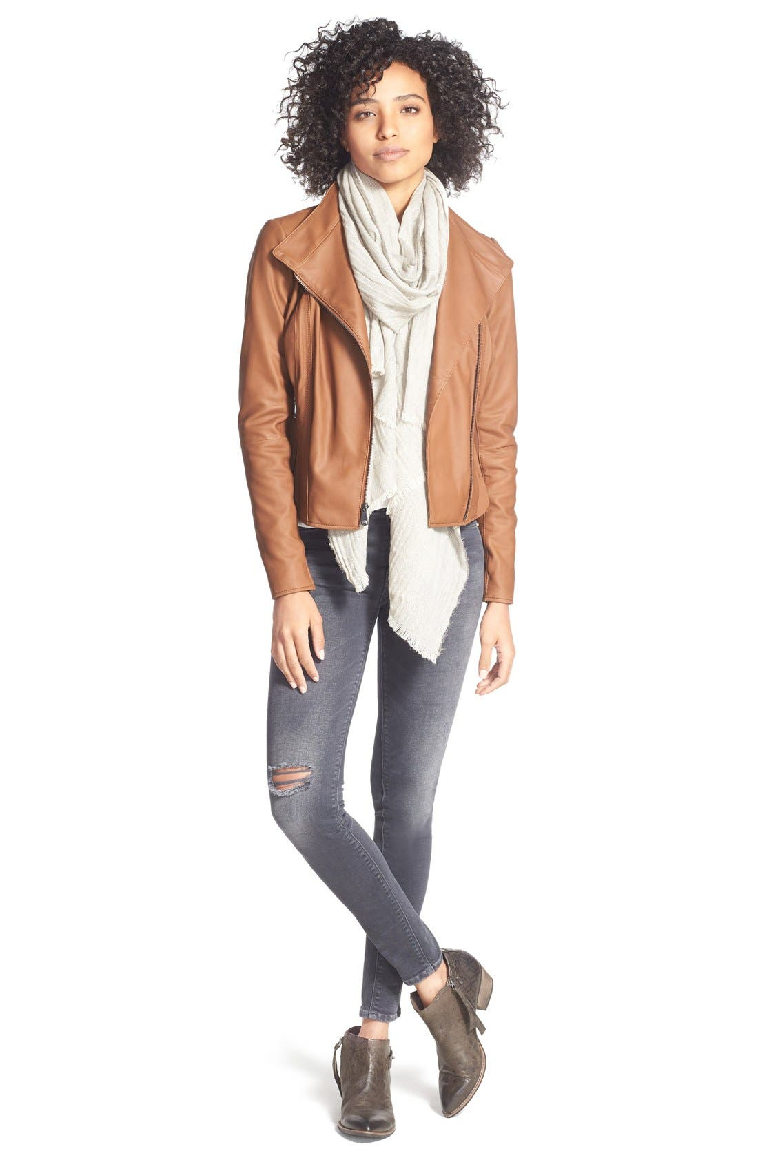 ANDREW MARC, Marc New York by Andrew Marc Felix Stand Collar Leather Jacket, Alternate thumbnail 11, color, WHISKEY