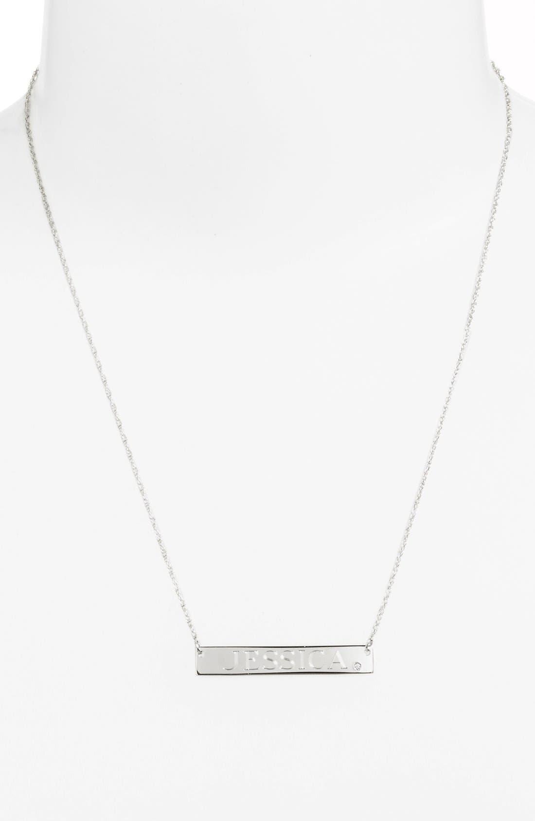 JANE BASCH DESIGNS, Diamond & Personalized Nameplate Pendant Necklace, Alternate thumbnail 4, color, 040