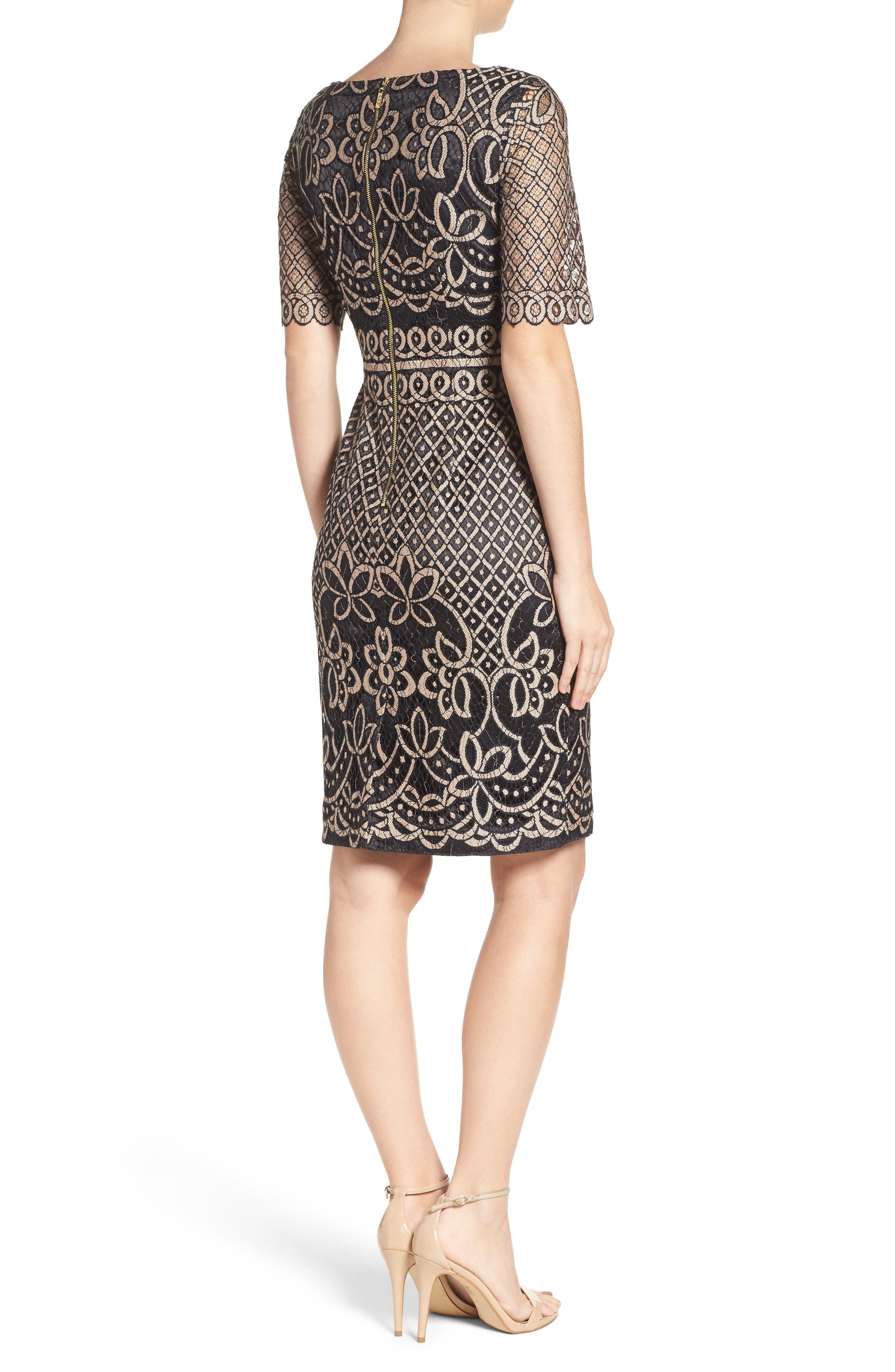 ELIZA J, Lace Sheath Dress, Alternate thumbnail 2, color, 009