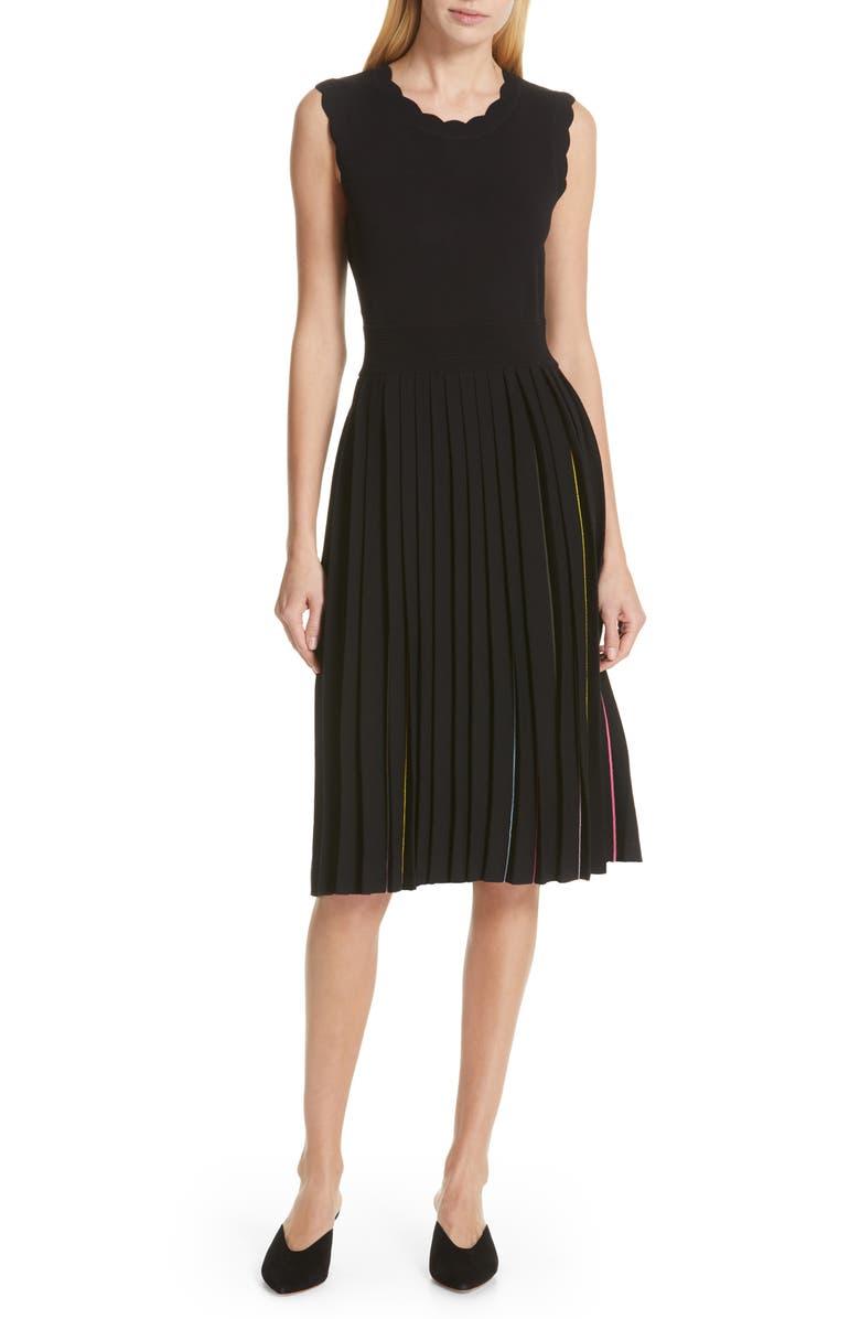 cf43a2b2b3a Kate Spade Crewneck Sleeveless Pleated Sweater Dress In Black ...