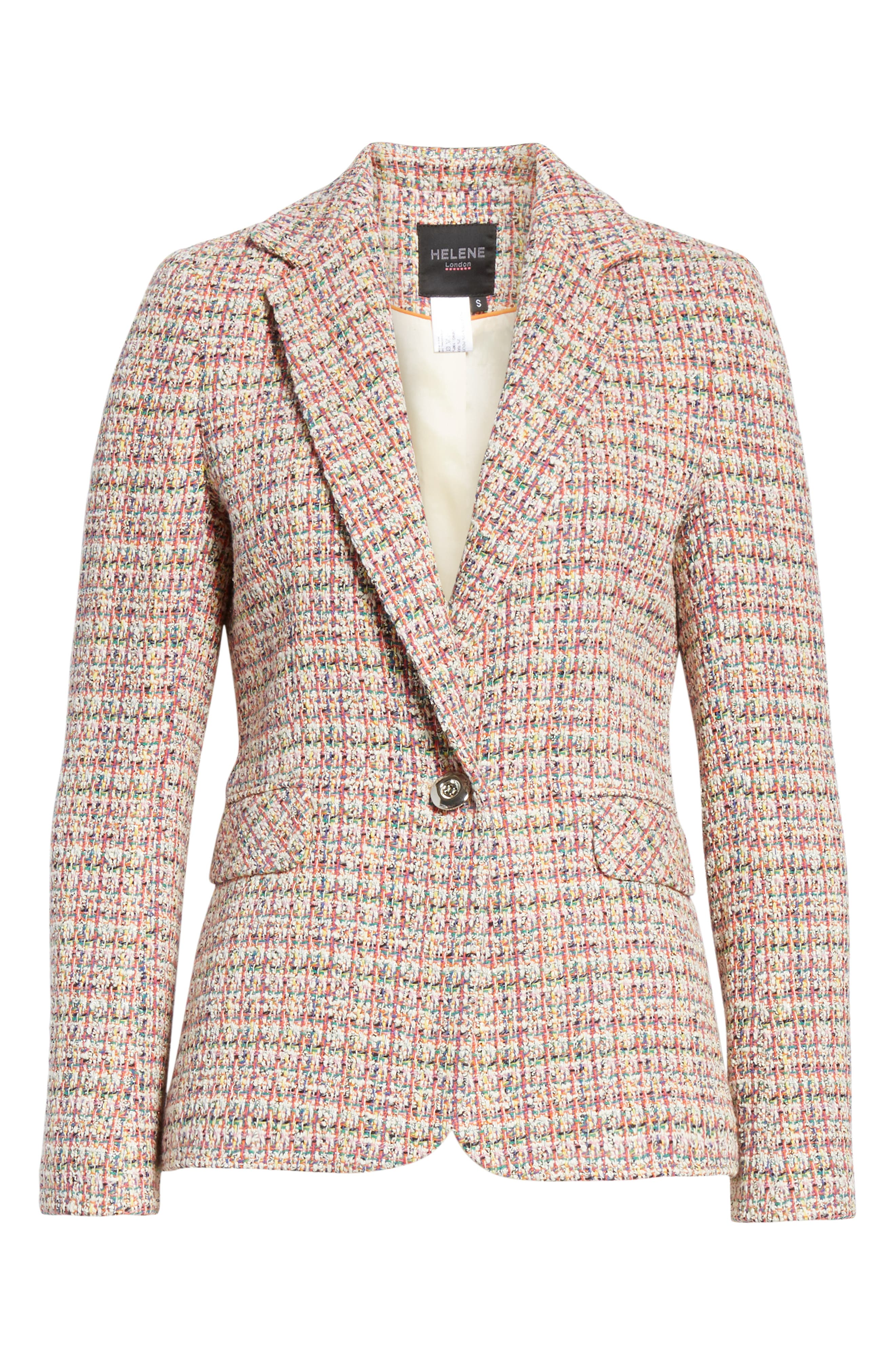 HELENE BERMAN, Colorful Tweed Blazer, Alternate thumbnail 5, color, ORANGE