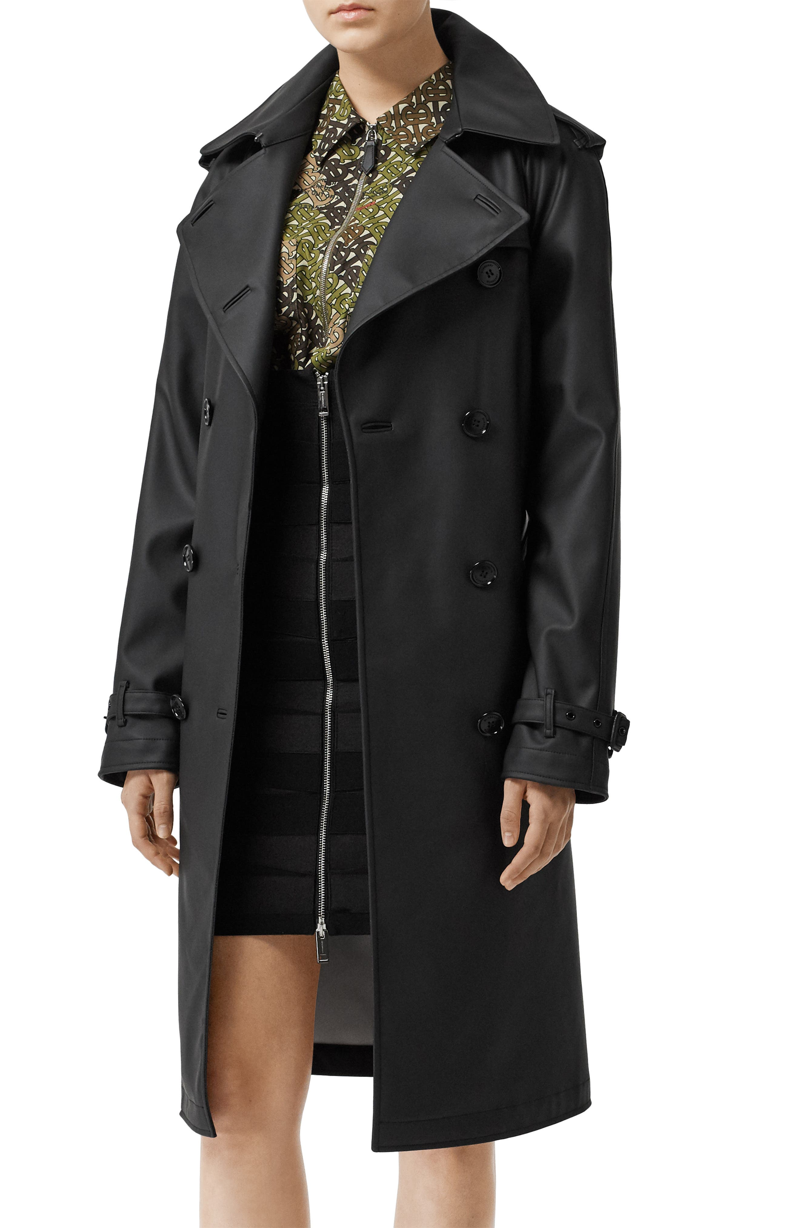 BURBERRY, Curradine Waterproof Rubberized Trench Coat, Alternate thumbnail 4, color, BLACK / WHITE