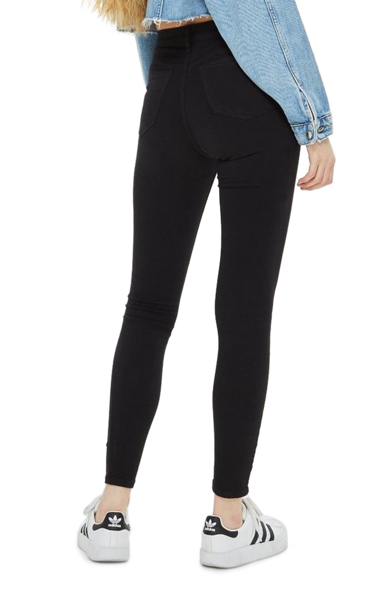 TOPSHOP, Moto Jamie High Waist Ripped Black Jeans, Alternate thumbnail 2, color, BLACK