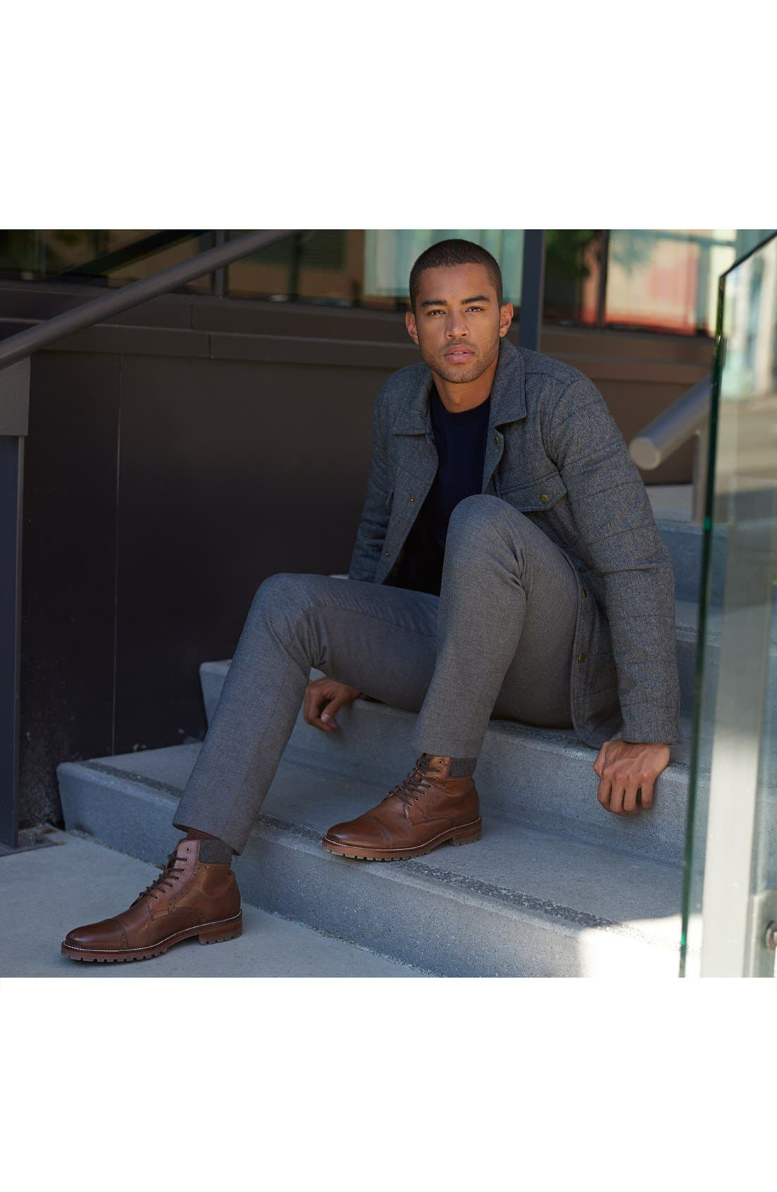 J&M 1850, 'Karnes' Brogue Cap Toe Boot, Alternate thumbnail 4, color, DARK BROWN LEATHER