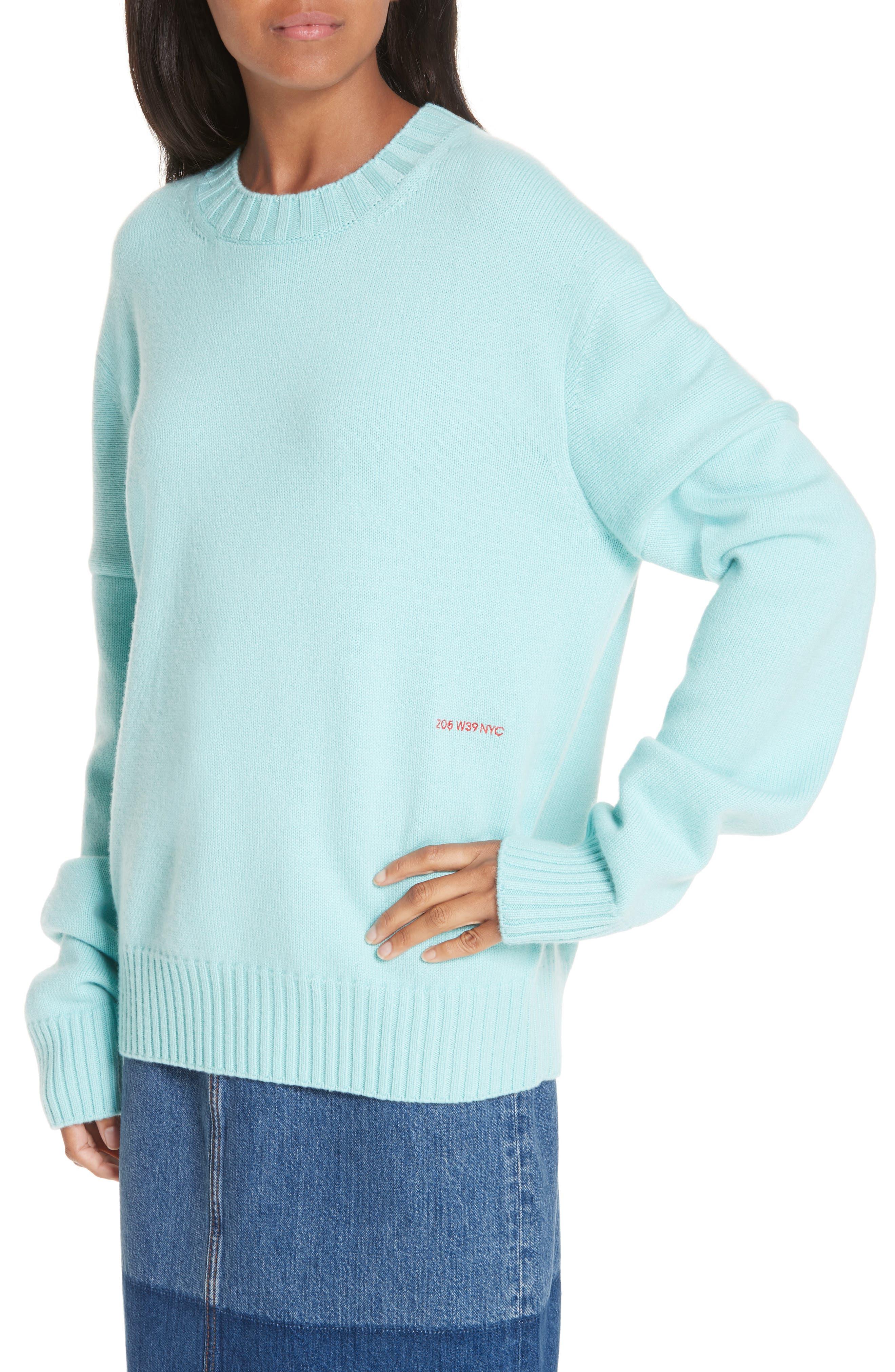 CALVIN KLEIN 205W39NYC, Logo Cashmere Sweater, Alternate thumbnail 5, color, SKY BLUE