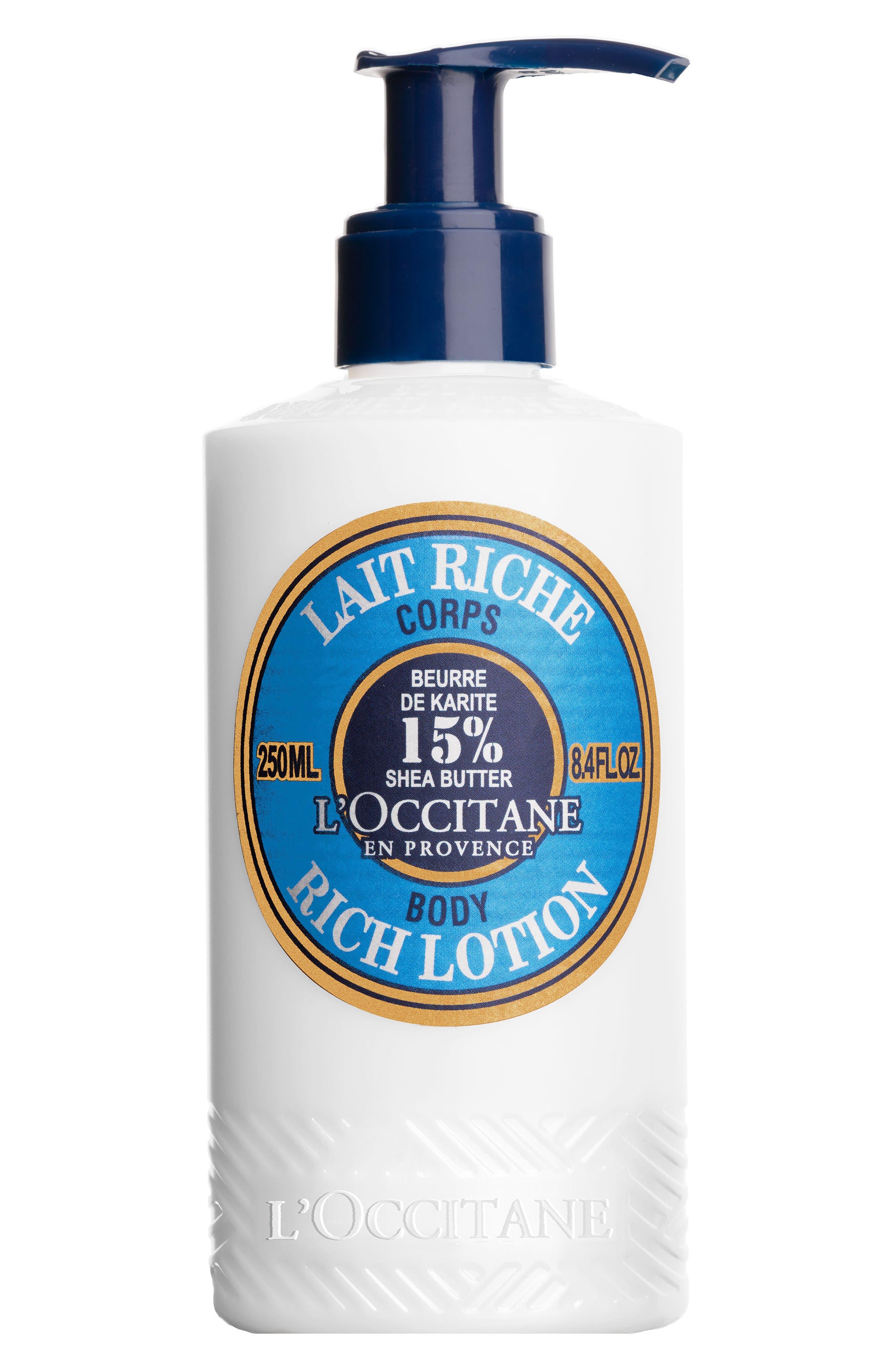 L'OCCITANE, Shea Butter Rich Body Lotion, Main thumbnail 1, color, NO COLOR