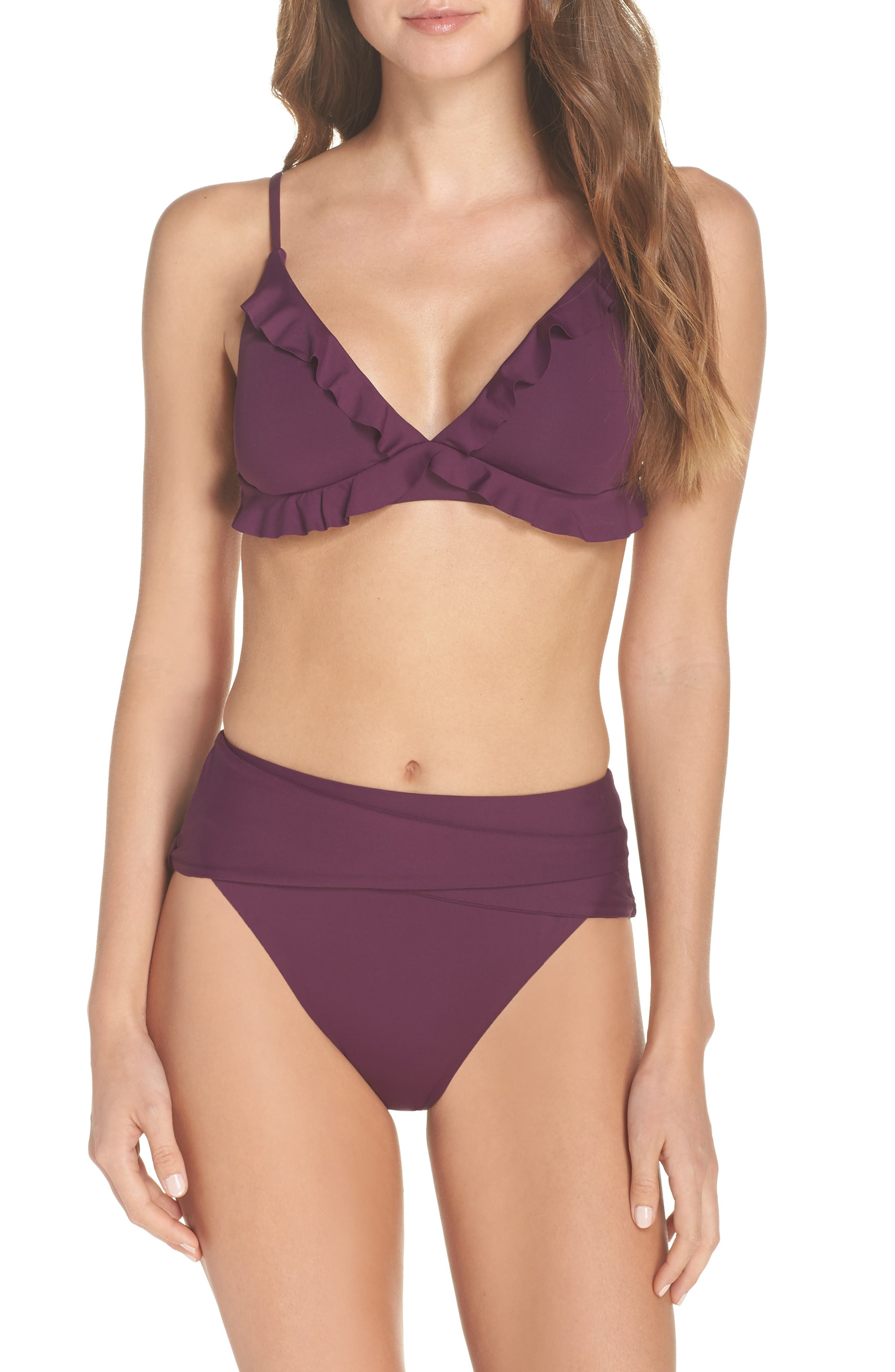BECCA, Color Code Crossover High Waist Bikini Bottoms, Alternate thumbnail 8, color, MERLOT