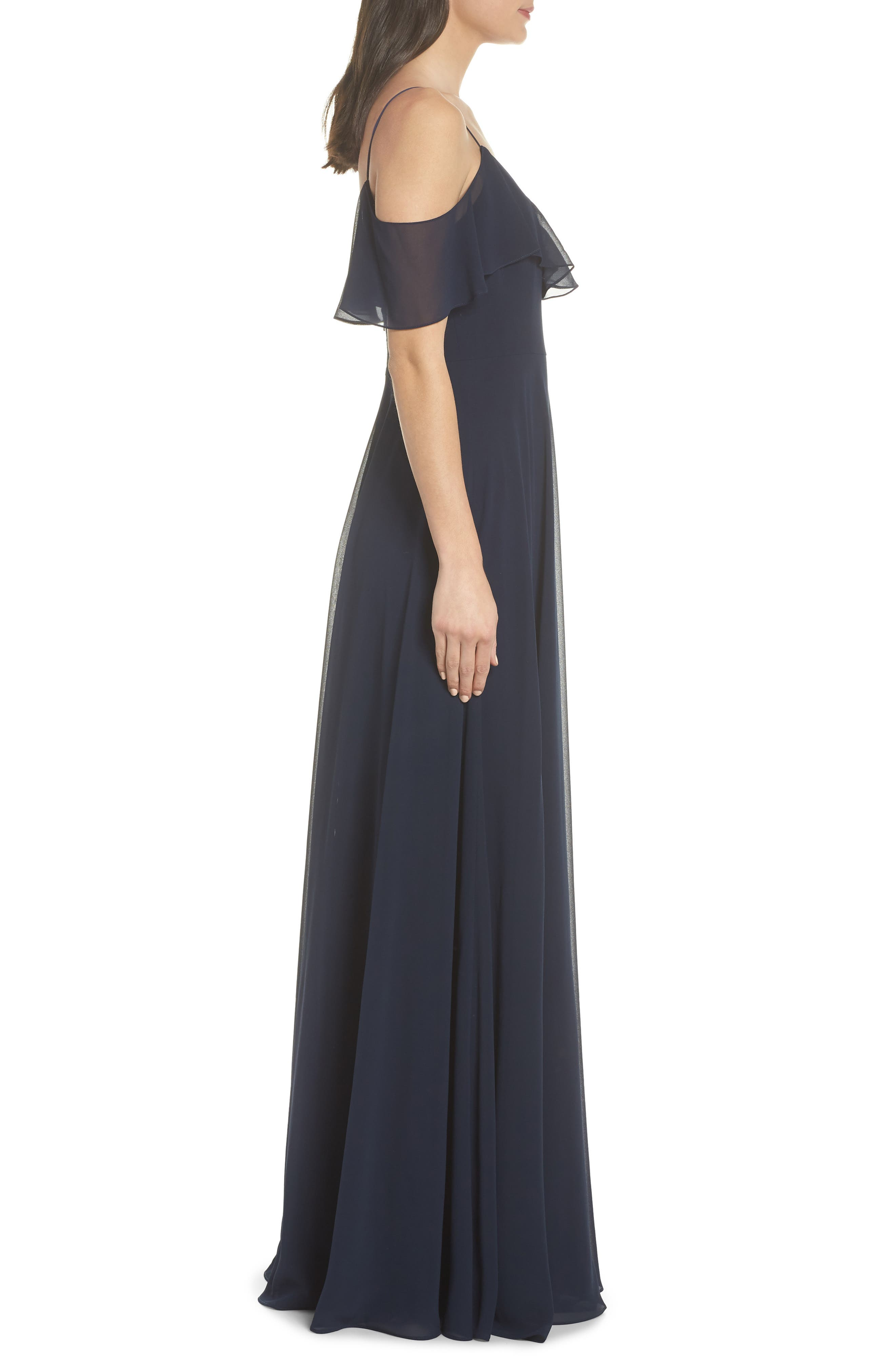 JENNY YOO, Cold Shoulder Chiffon Gown, Alternate thumbnail 4, color, NAVY