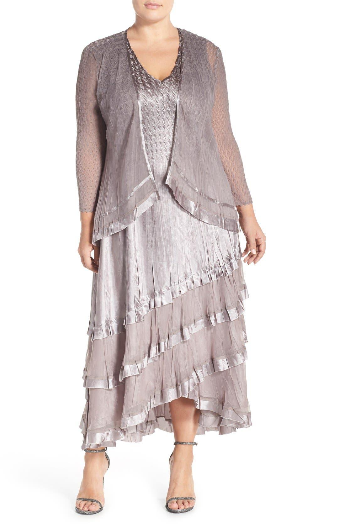 KOMAROV, Charmeuse Tiered Hem Dress with Chiffon Jacket, Main thumbnail 1, color, OYSTER SMOKE OMBRE
