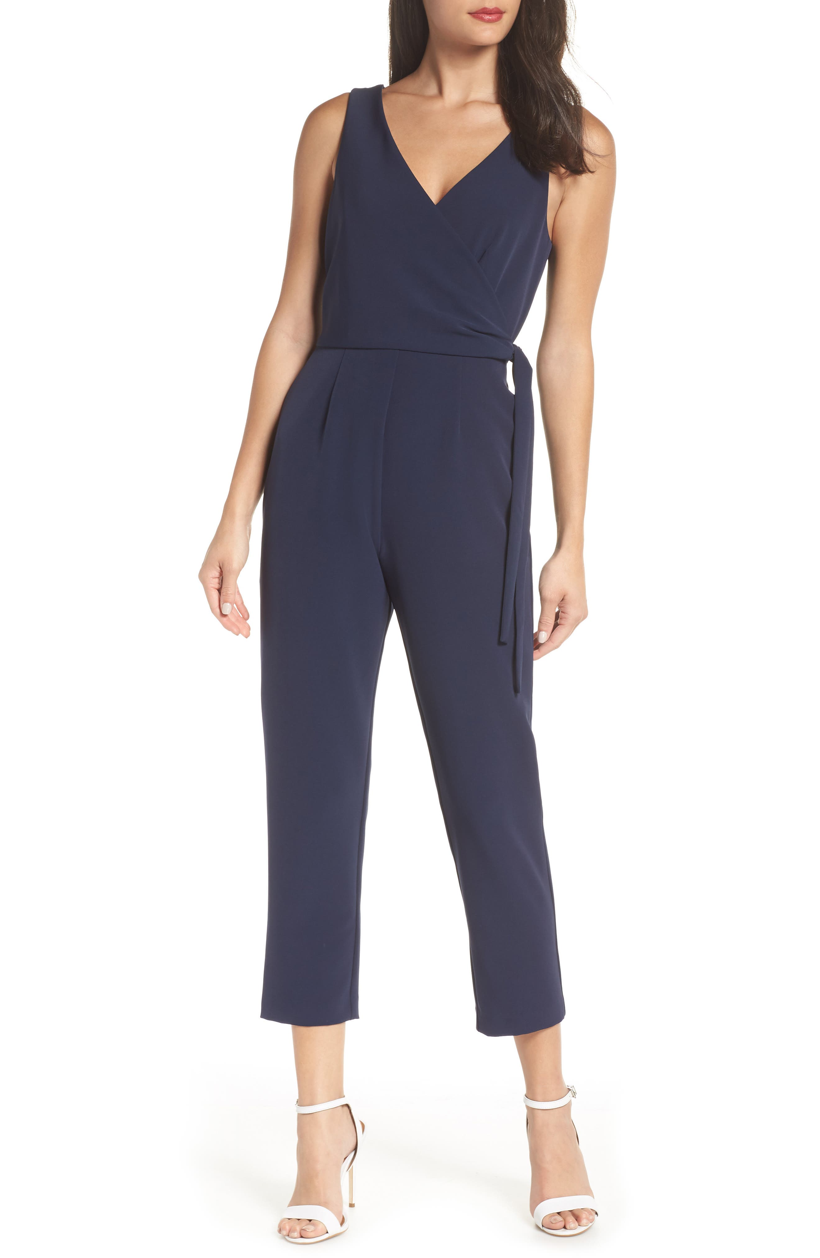 Petite Charles Henry Tie Front Sleeveless Jumpsuit, Blue