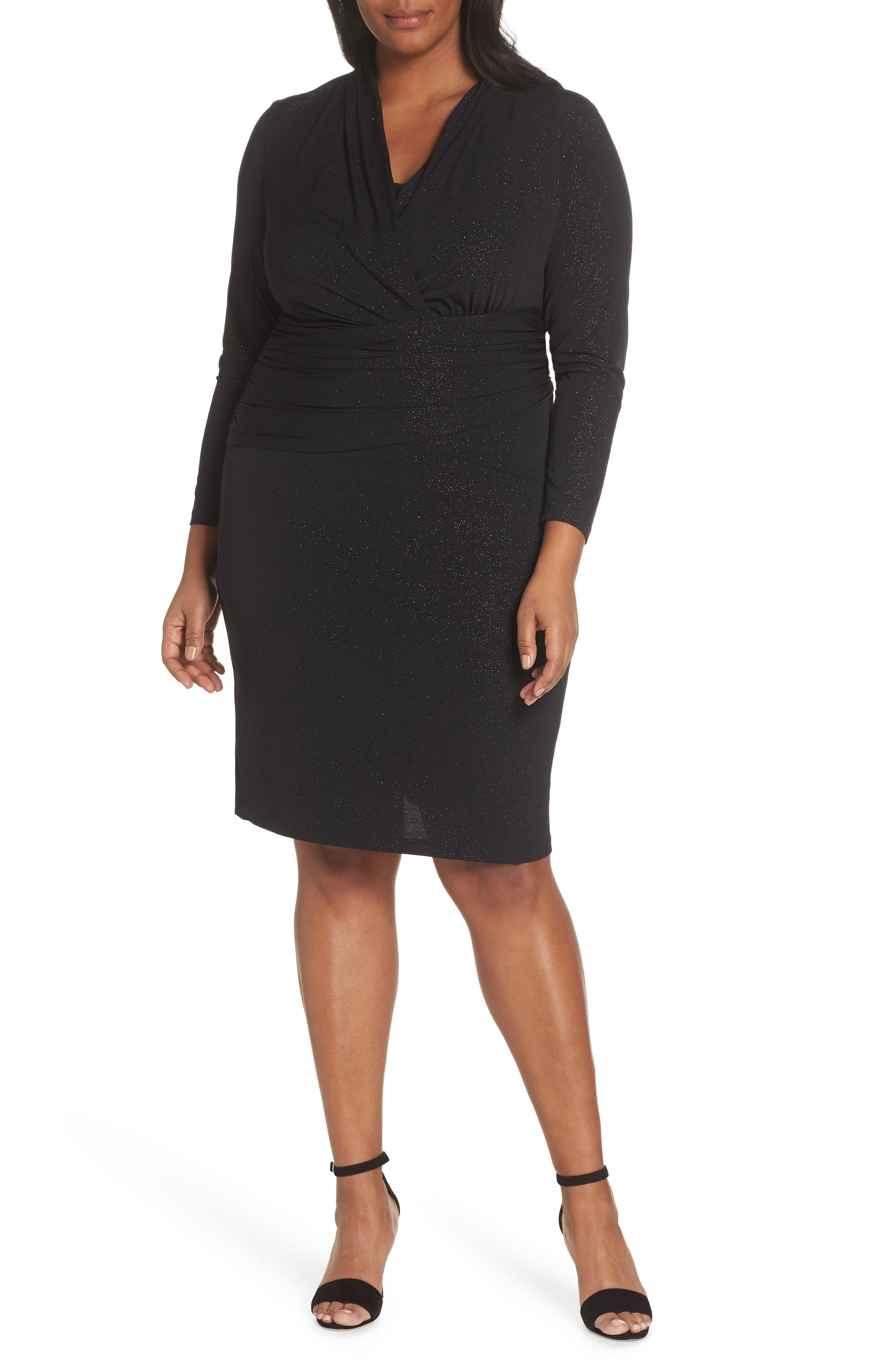 Plus Size Vince Camuto Wrap Front Sparkle Jersey Dress, Black