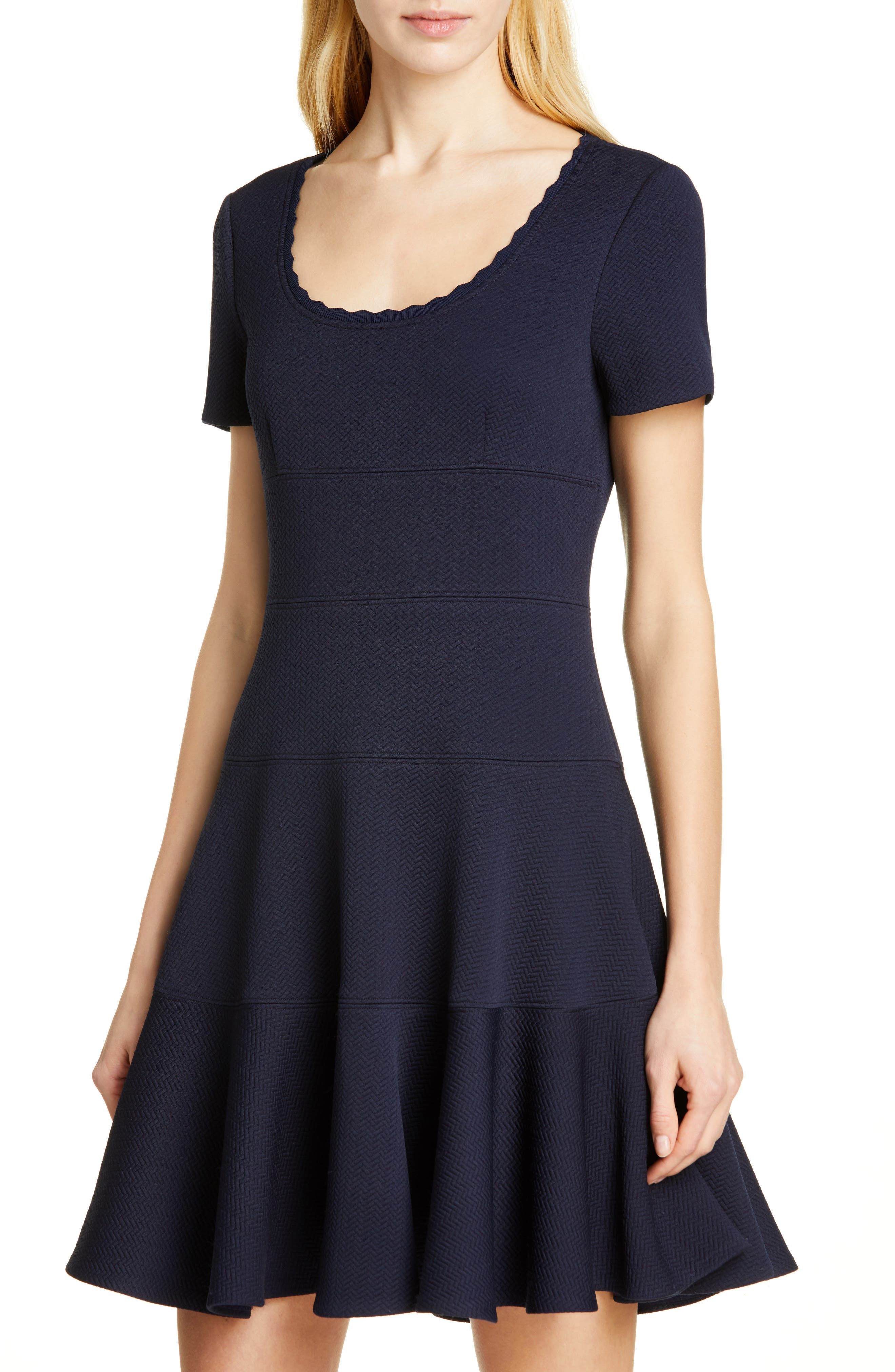 REBECCA TAYLOR, Textured Scallop Detail Fit & Flare Dress, Alternate thumbnail 5, color, NAVY