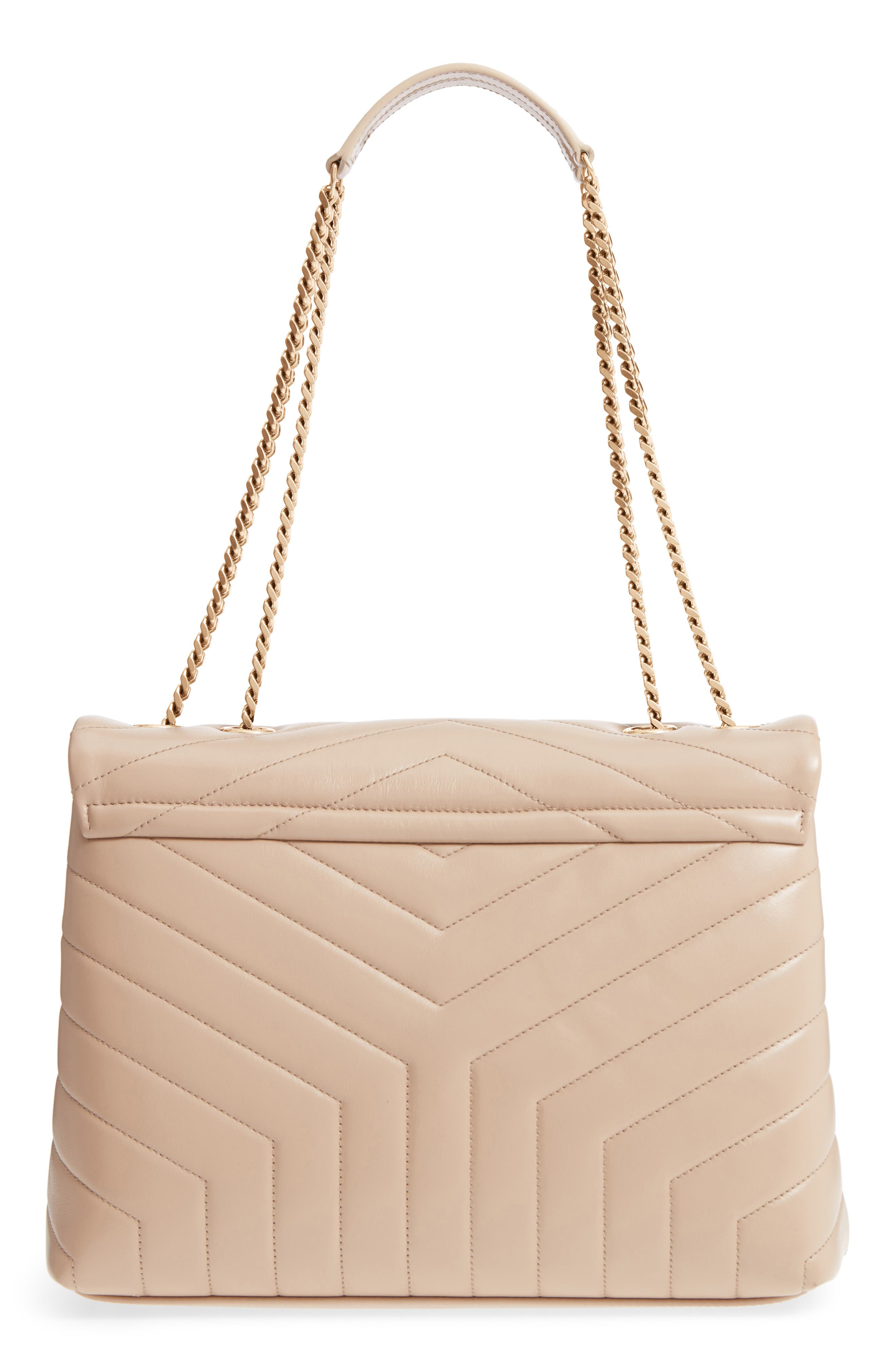 SAINT LAURENT, Medium Loulou Matelassé Calfskin Leather Shoulder Bag, Alternate thumbnail 3, color, LIGHT NATURAL