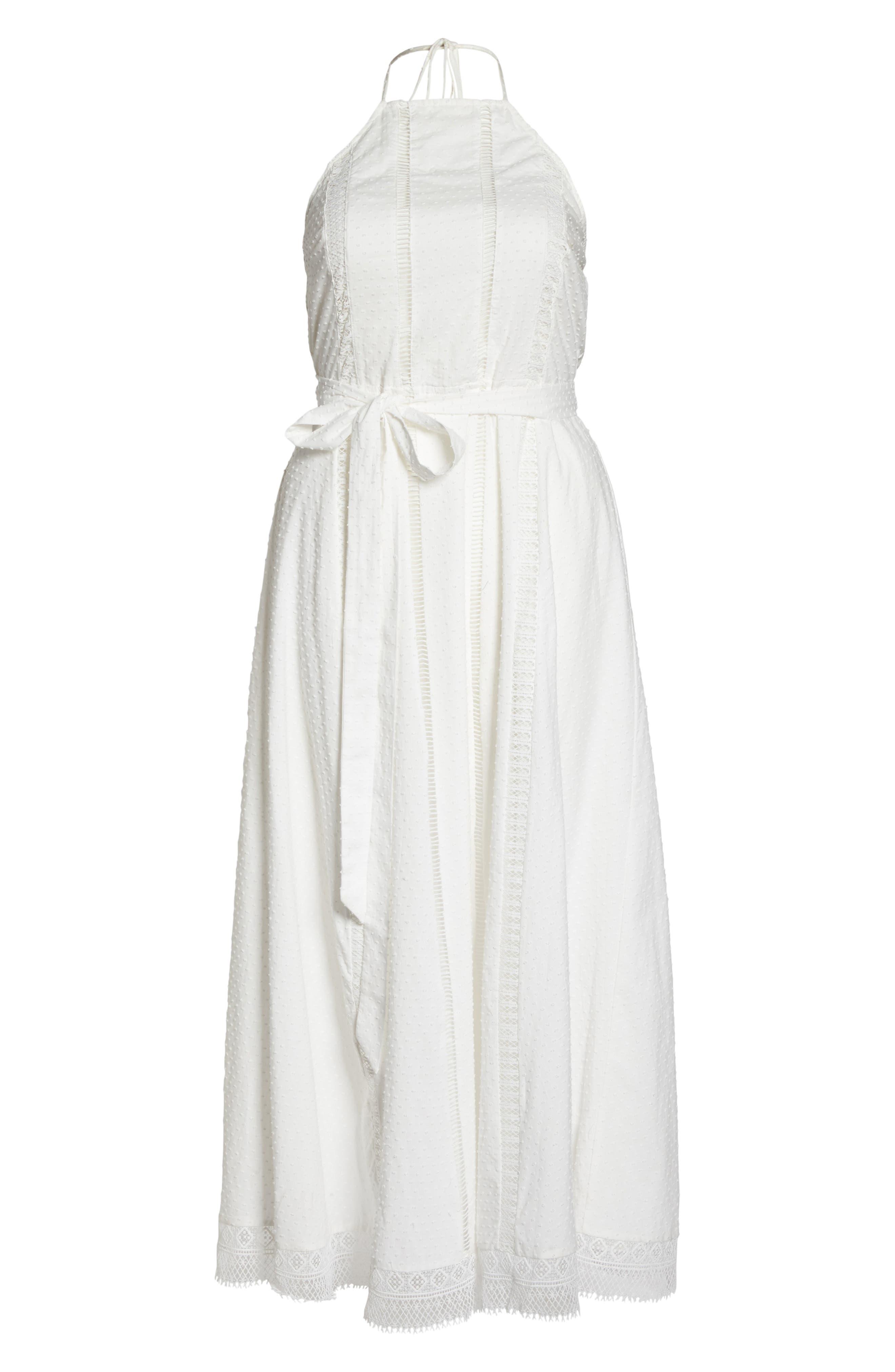 CITY CHIC, Lace Trim Swiss Dot Halter Maxi Dress, Alternate thumbnail 7, color, IVORY