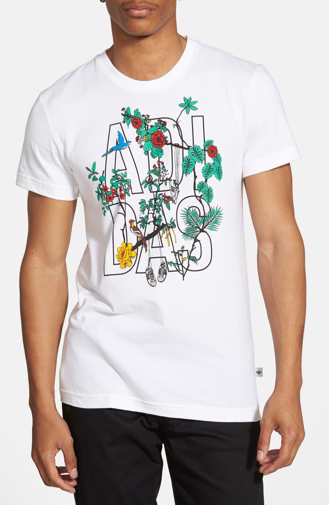 ADIDAS ORIGINALS, 'Island Superstar' Graphic T-Shirt, Main thumbnail 1, color, 100