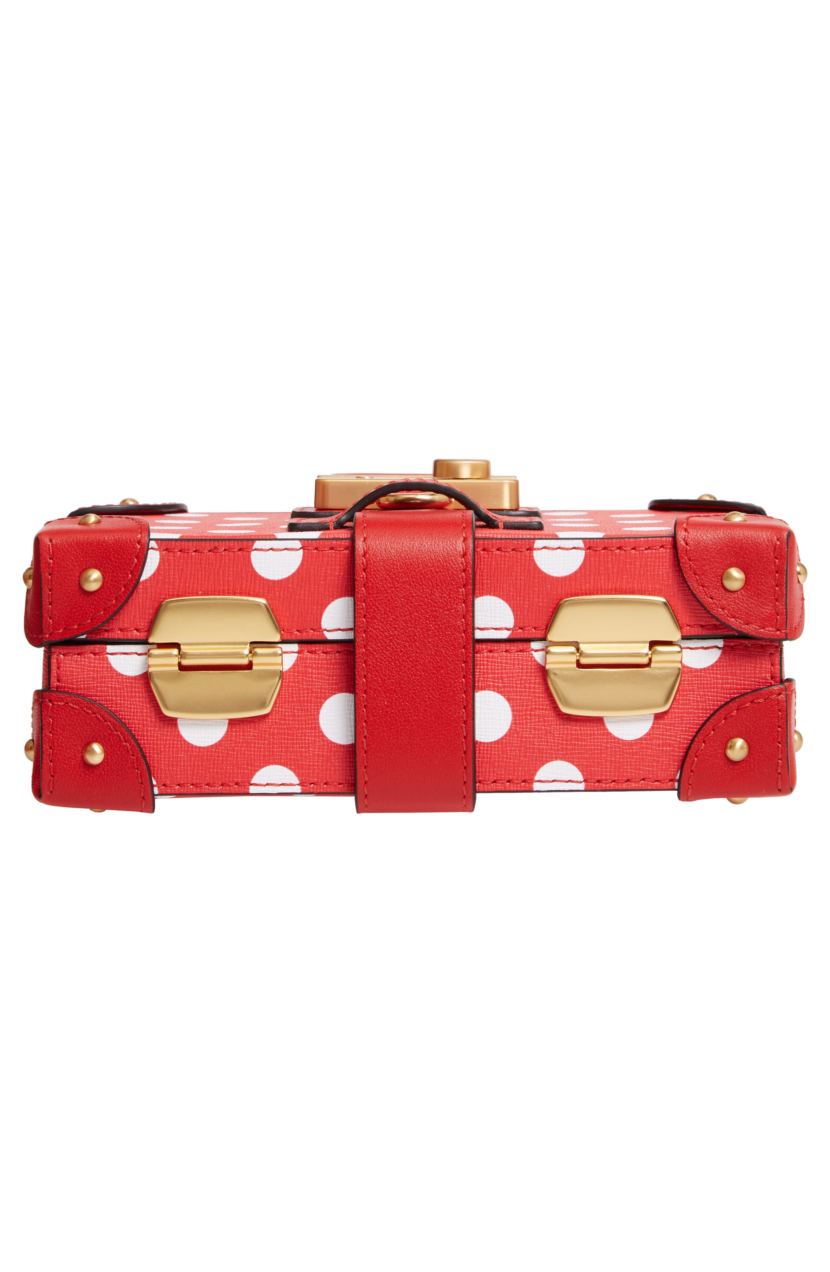 MOSCHINO, Polka Dot Box Leather Crossbody Bag, Alternate thumbnail 6, color, RED