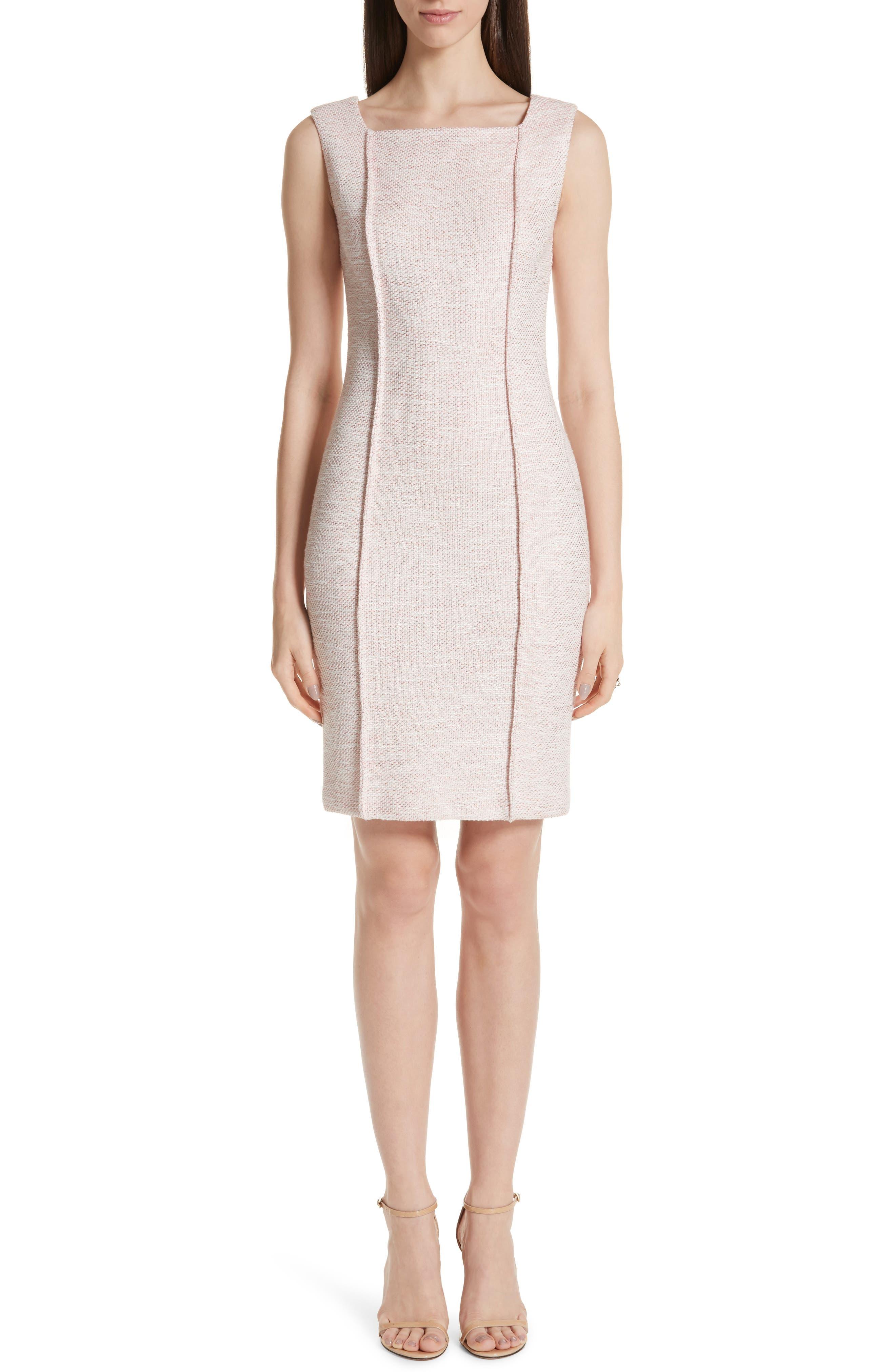 ST. JOHN COLLECTION Belinda Knit Square Neck Dress, Main, color, WHITE/ CORAL MULTI
