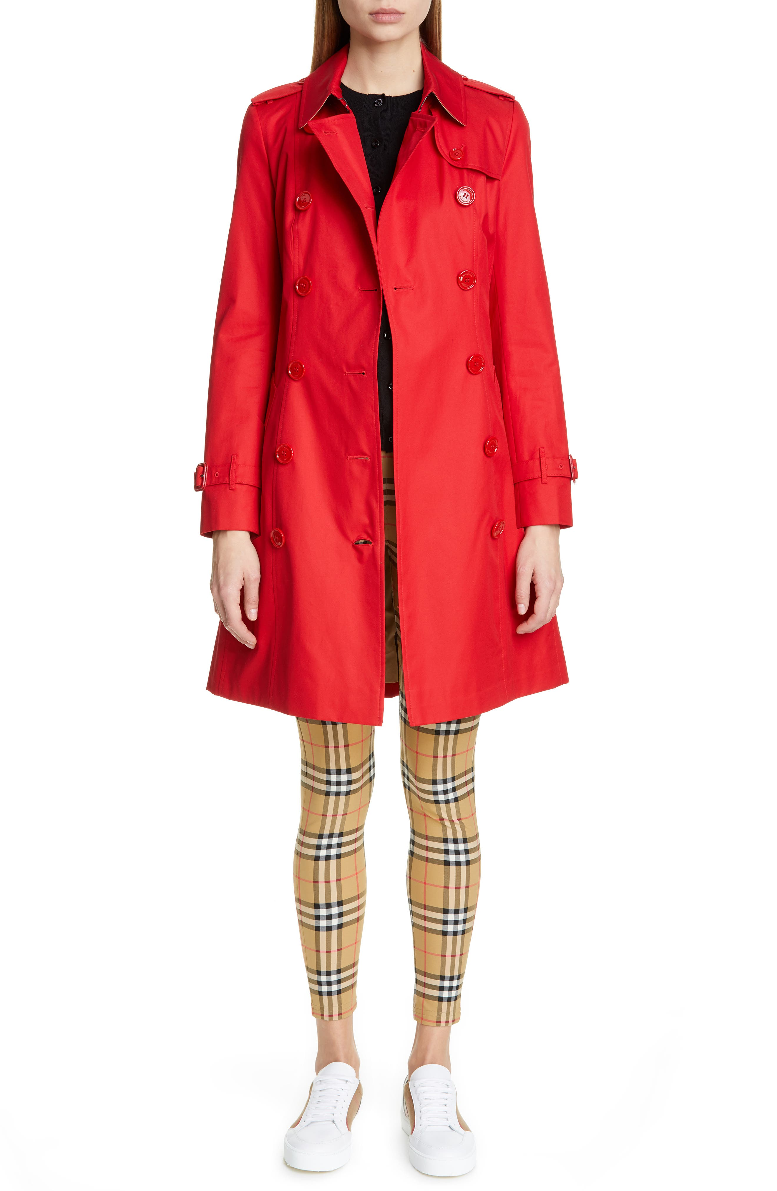 BURBERRY, The Chelsea Cotton Gabardine Trench Coat, Alternate thumbnail 8, color, BRIGHT RED