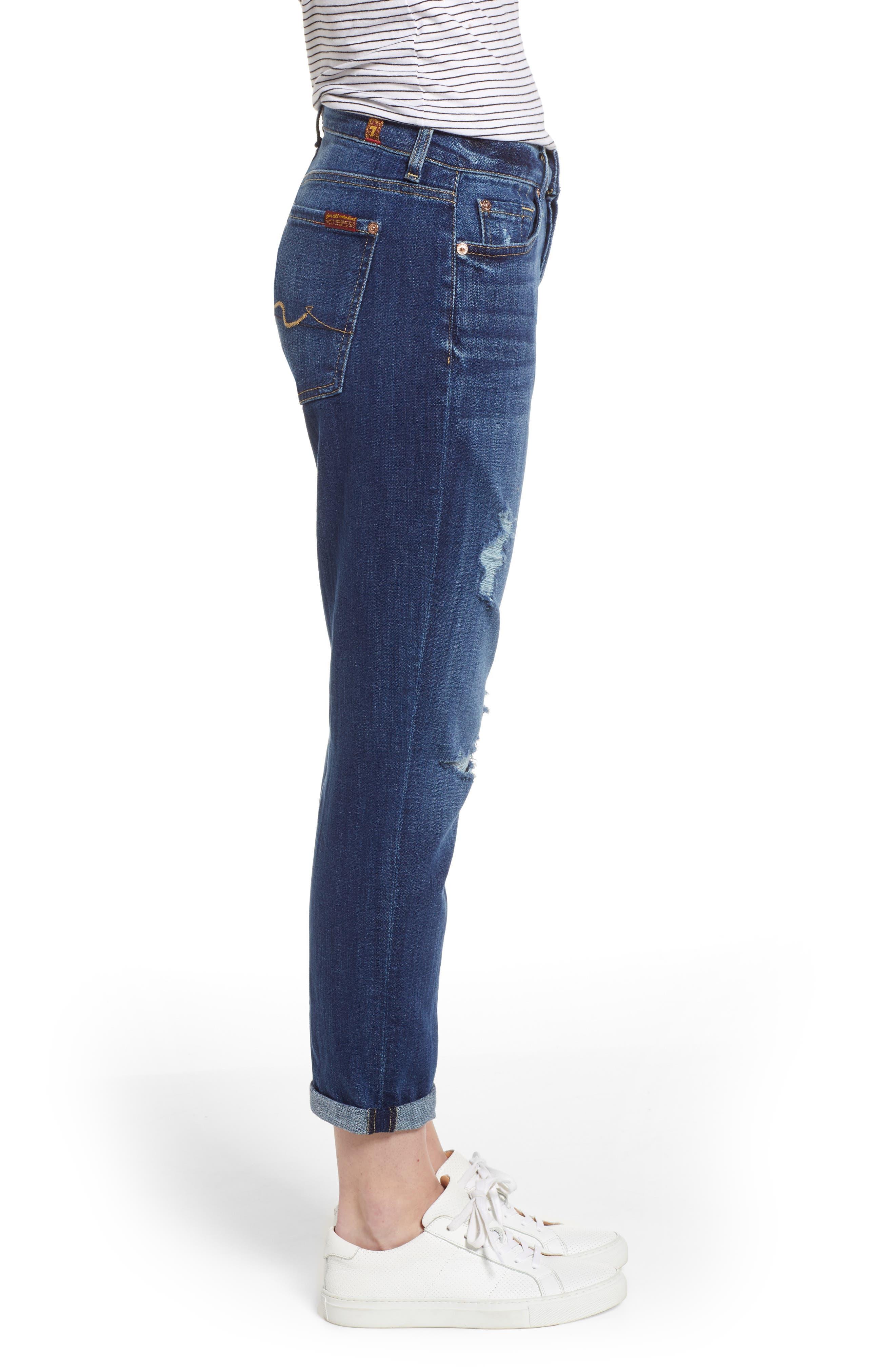 7 FOR ALL MANKIND<SUP>®</SUP>, Josefina Boyfriend Jeans, Alternate thumbnail 4, color, BROKEN TWILL VANITY W/ DESTROY
