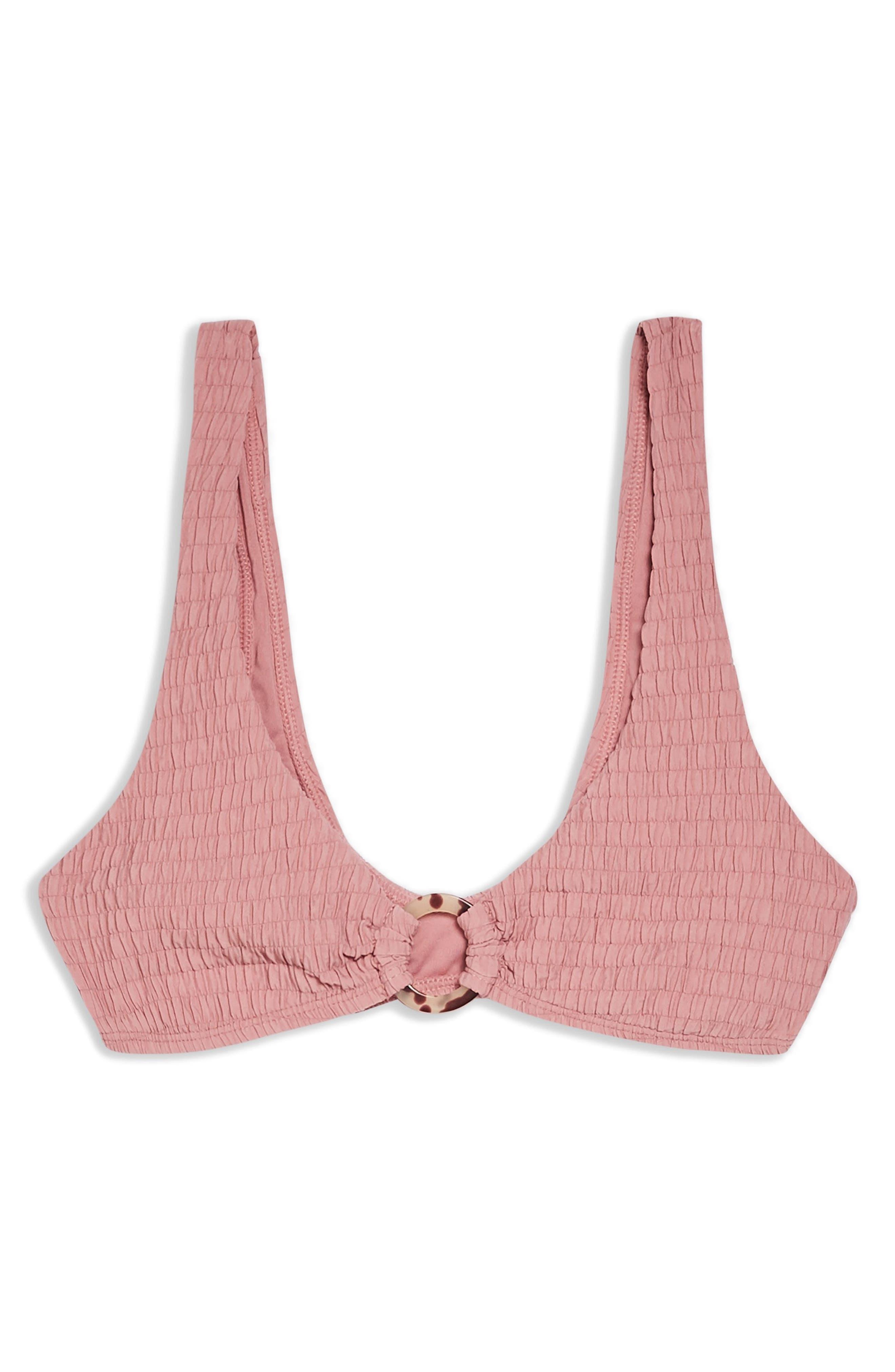 TOPSHOP, Tortoiseshell Ring Smocked Bikini Top, Alternate thumbnail 4, color, DUSTY PINK