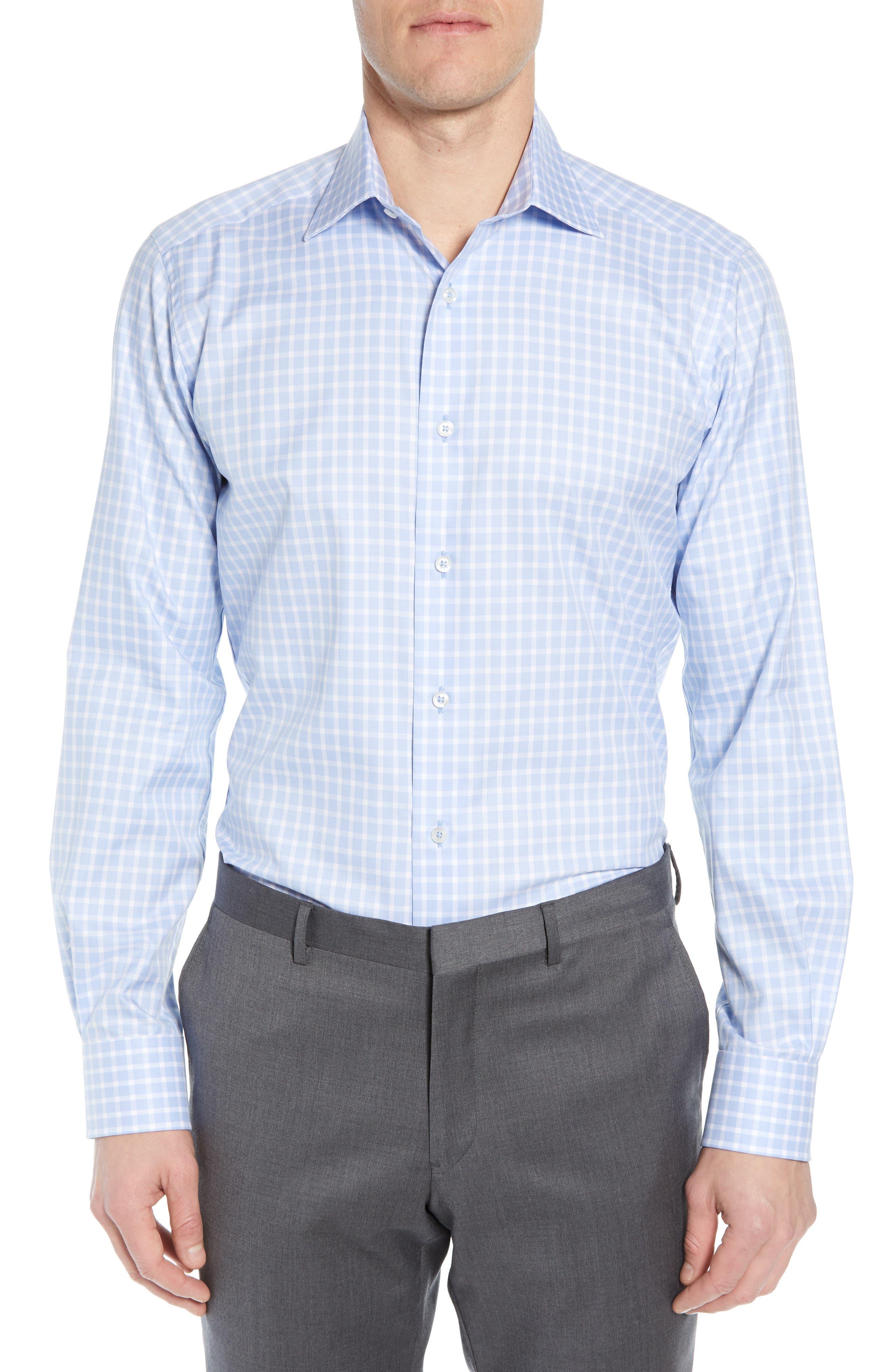 DAVID DONAHUE, Trim Fit Check Dress Shirt, Main thumbnail 1, color, BLUE