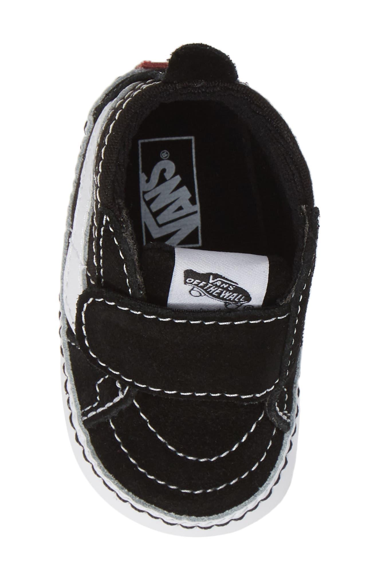 VANS, 'SK8-Hi' Crib Sneaker, Alternate thumbnail 5, color, BLACK/TRUE WHITE
