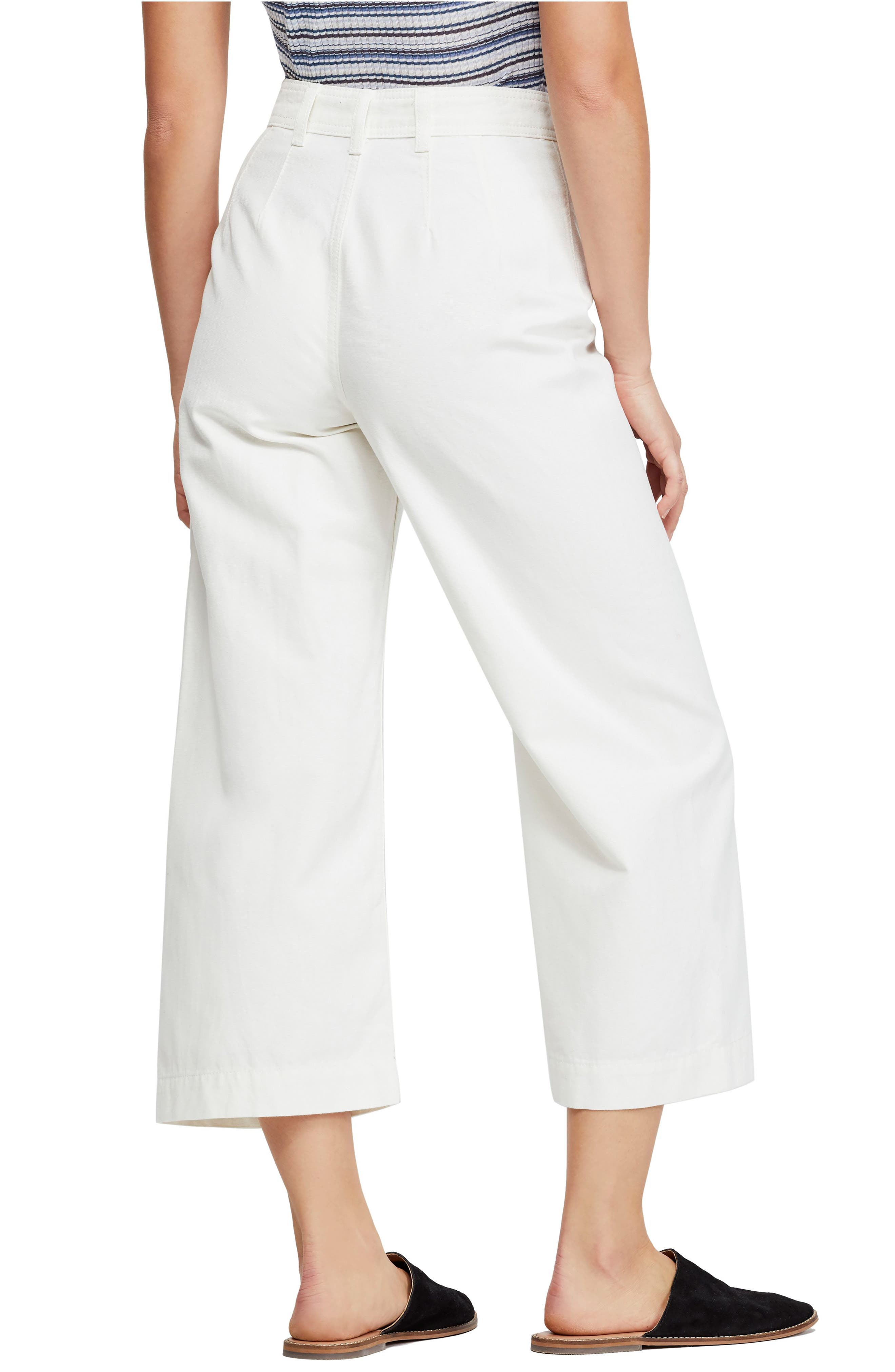 FREE PEOPLE, We the Free by Free People Patti Crop Cotton Pants, Alternate thumbnail 2, color, IVORY